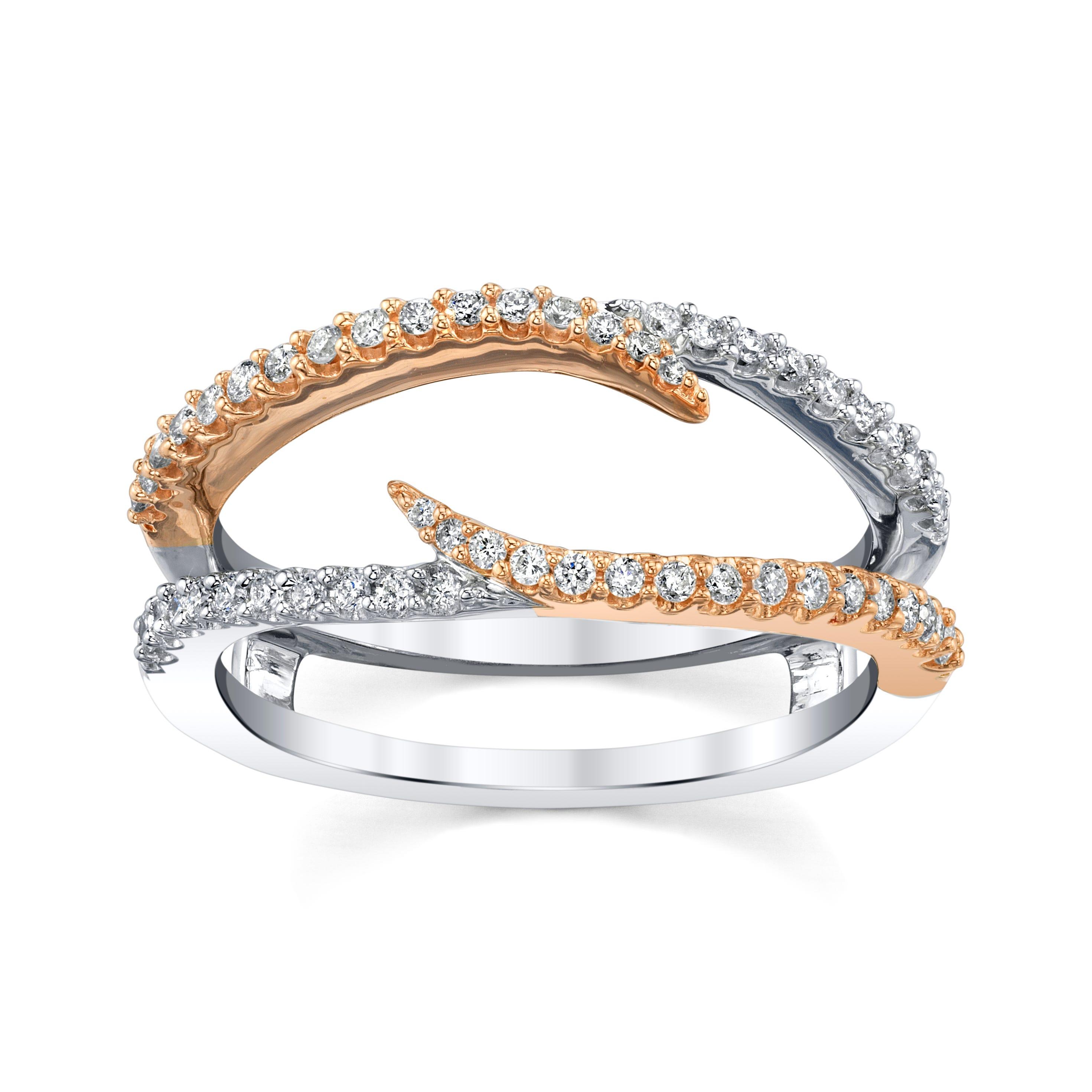 Sirena 1/3ctw. Diamond Freeform Insert in 14k White & Rose Gold