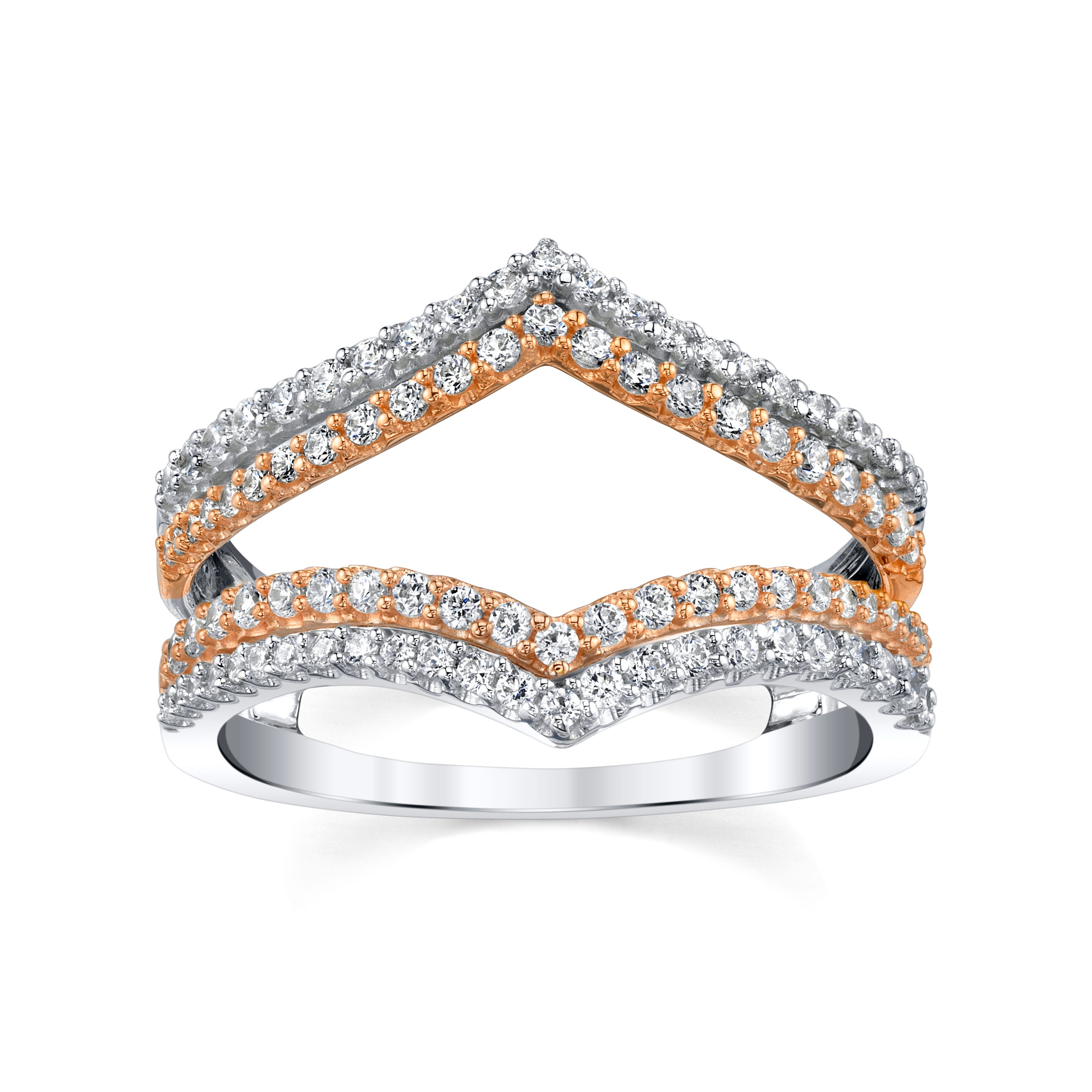 Sirena. 5/8ctw. Diamond Double Row V Insert in 14k White & Rose Gold