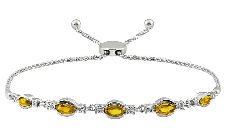 Oval Citrine & Diamond Bolo Bracelet in Sterling Silver