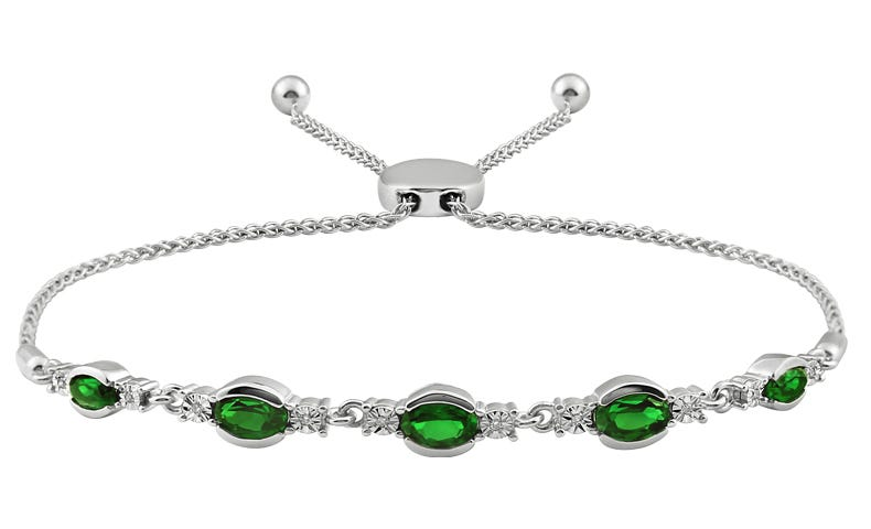 Oval Emerald & Diamond Bolo Bracelet in Sterling Silver
