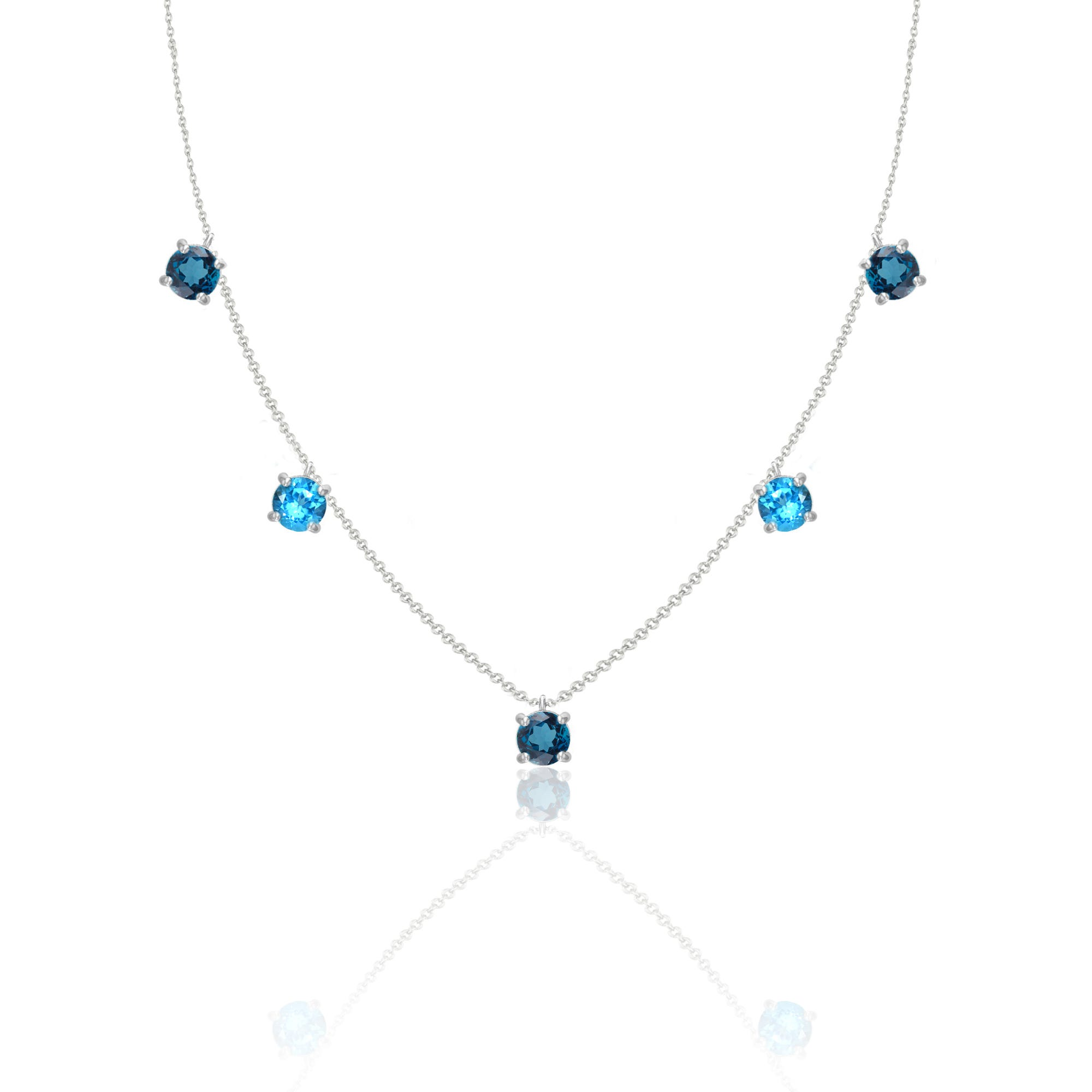 London & Swiss Blue Topaz Gem Necklace in 10k White Gold