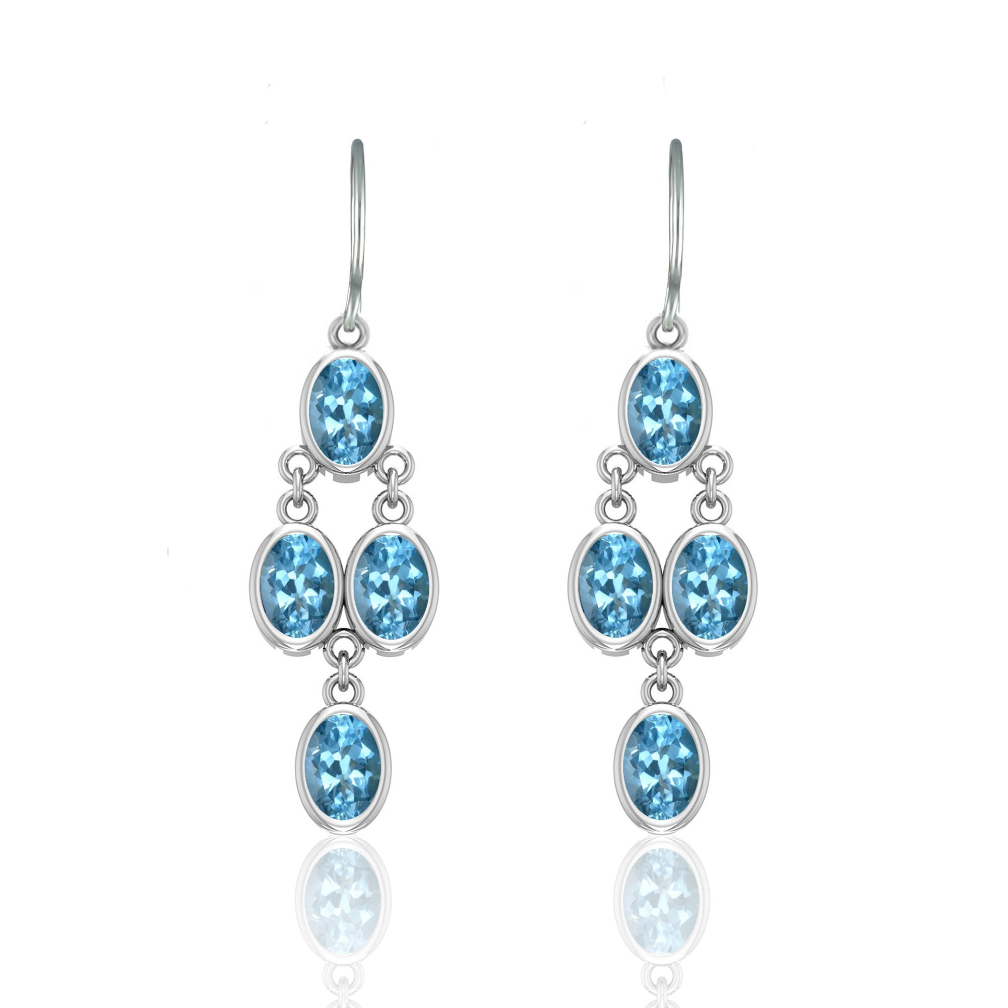 Oval Blue Topaz Chandelier Earrings in Sterling Silver