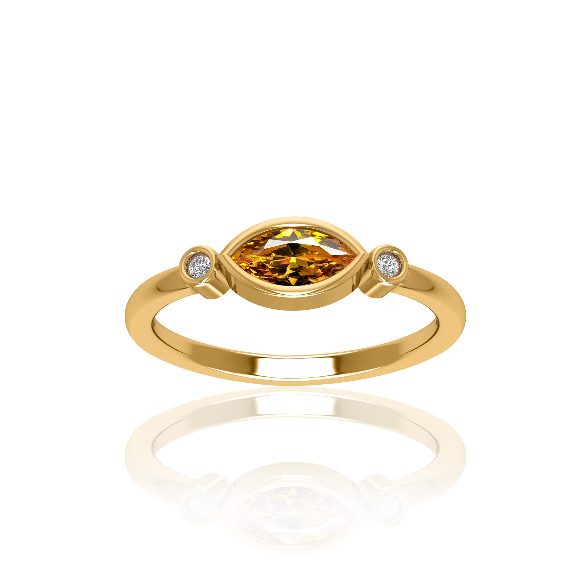 Marquise Shape Citrine & Diamond Ring in 10k Yellow