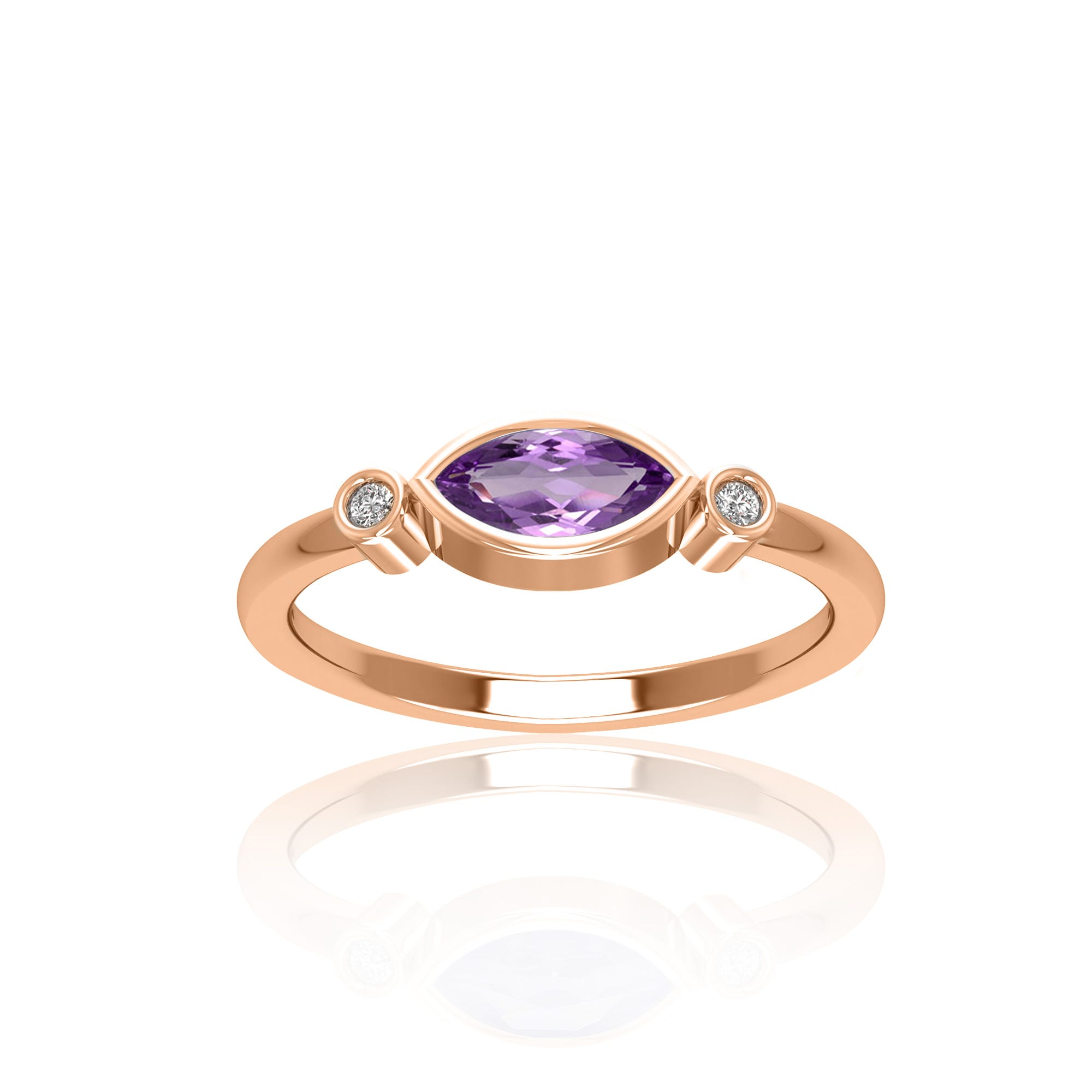 Marquise Shape Amethyst & Diamond Ring in 10k Rose Gold