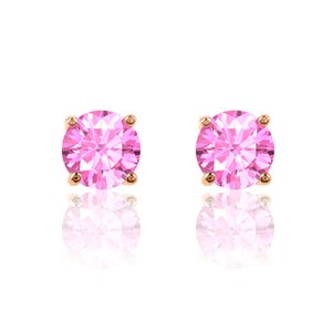 5711a25fabd054 Pink Sapphire Round Stud Earrings in 10k Rose Gold