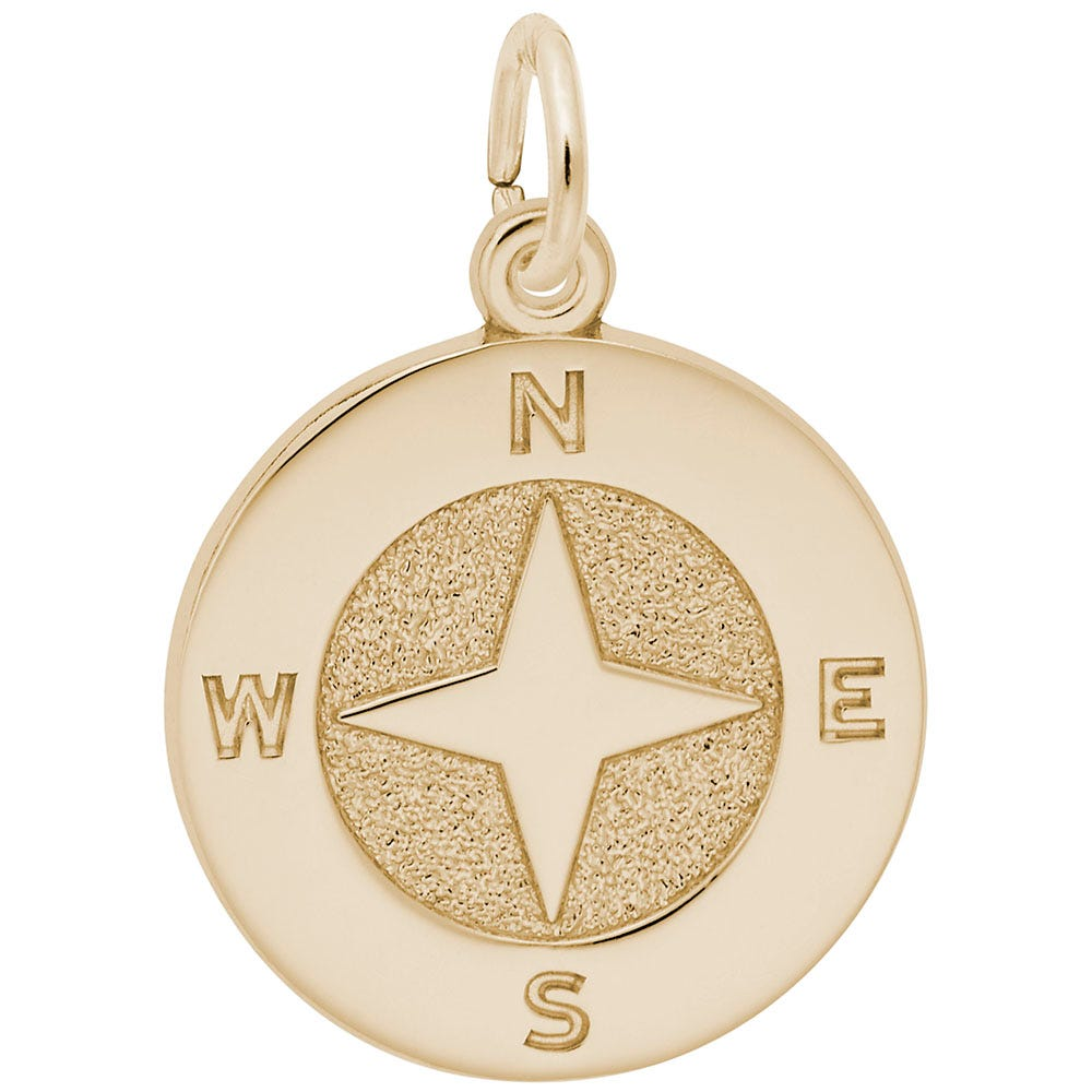 Compass Sterling Silver & Yellow Gold Plated Charm