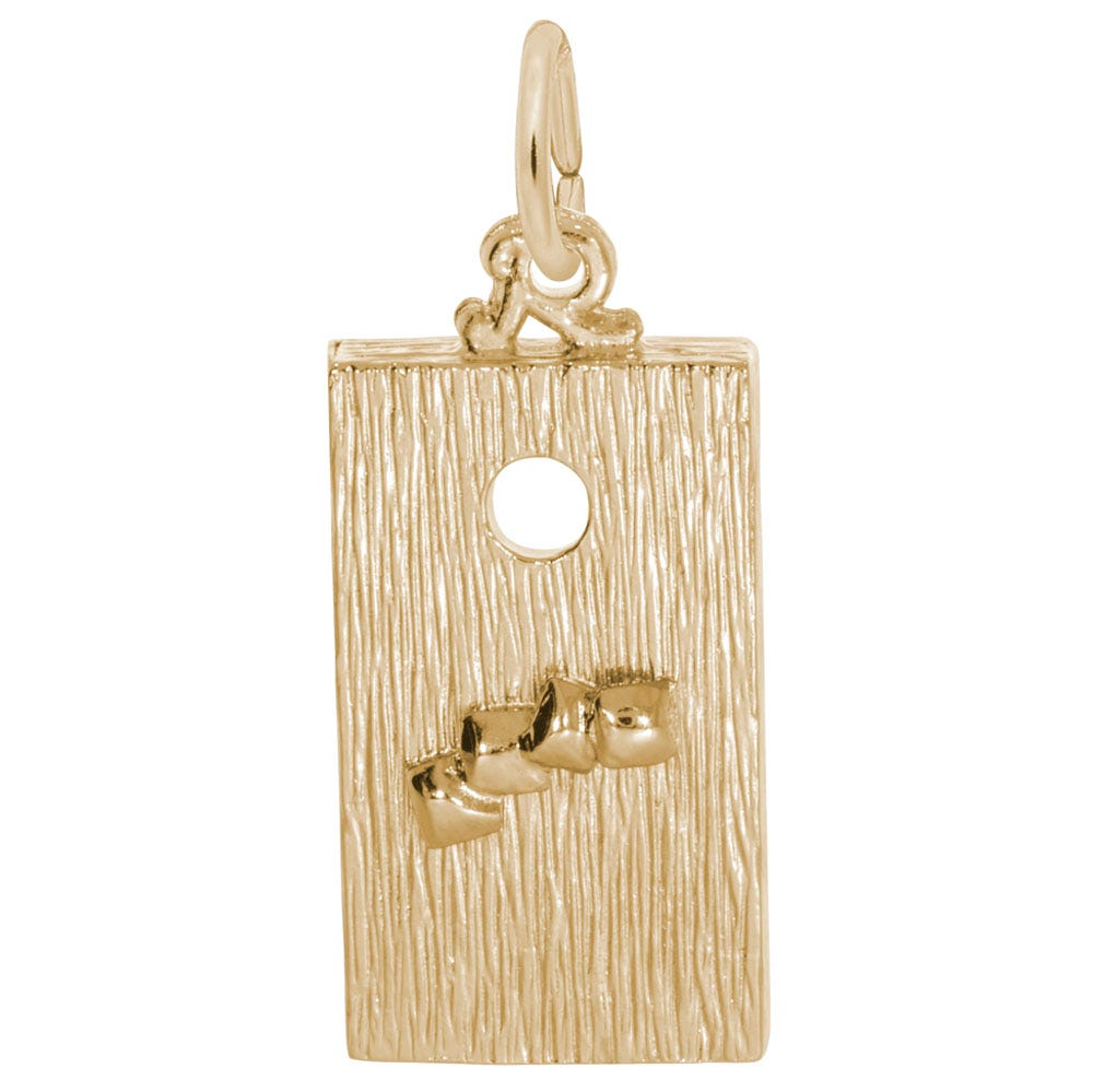 Corn Hole Game Sterling Silver & Yellow Gold Plated Charm