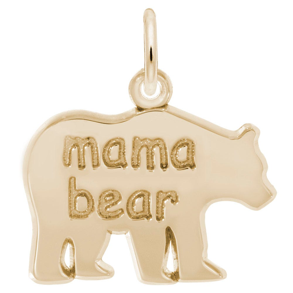 Mama Bear Sterling Silver & Yellow Gold Plated Charm