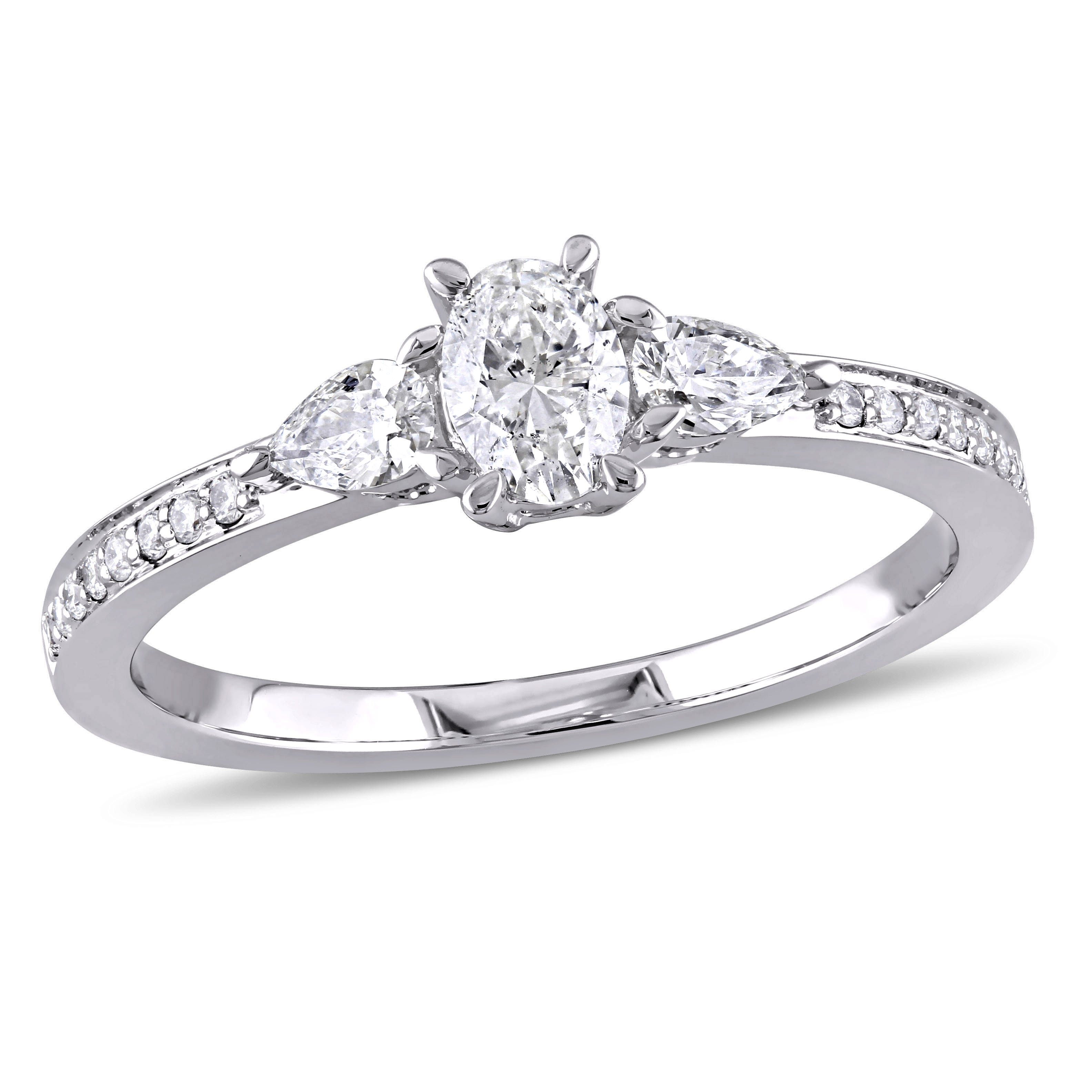 Three-Stone Oval & Pear 3/5ctw. Diamond Engagement Ring in 14k White Gold