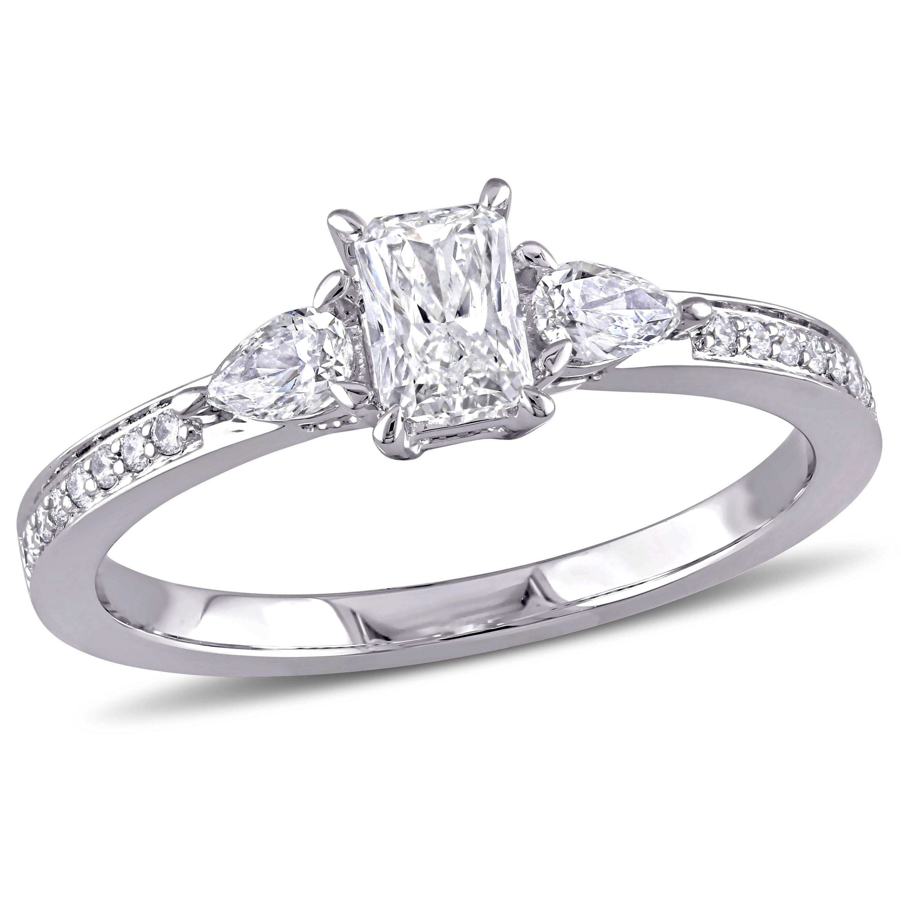 Three-Stone Radiant & Pear 5/8ctw. Diamond Engagement Ring in 14k White Gold