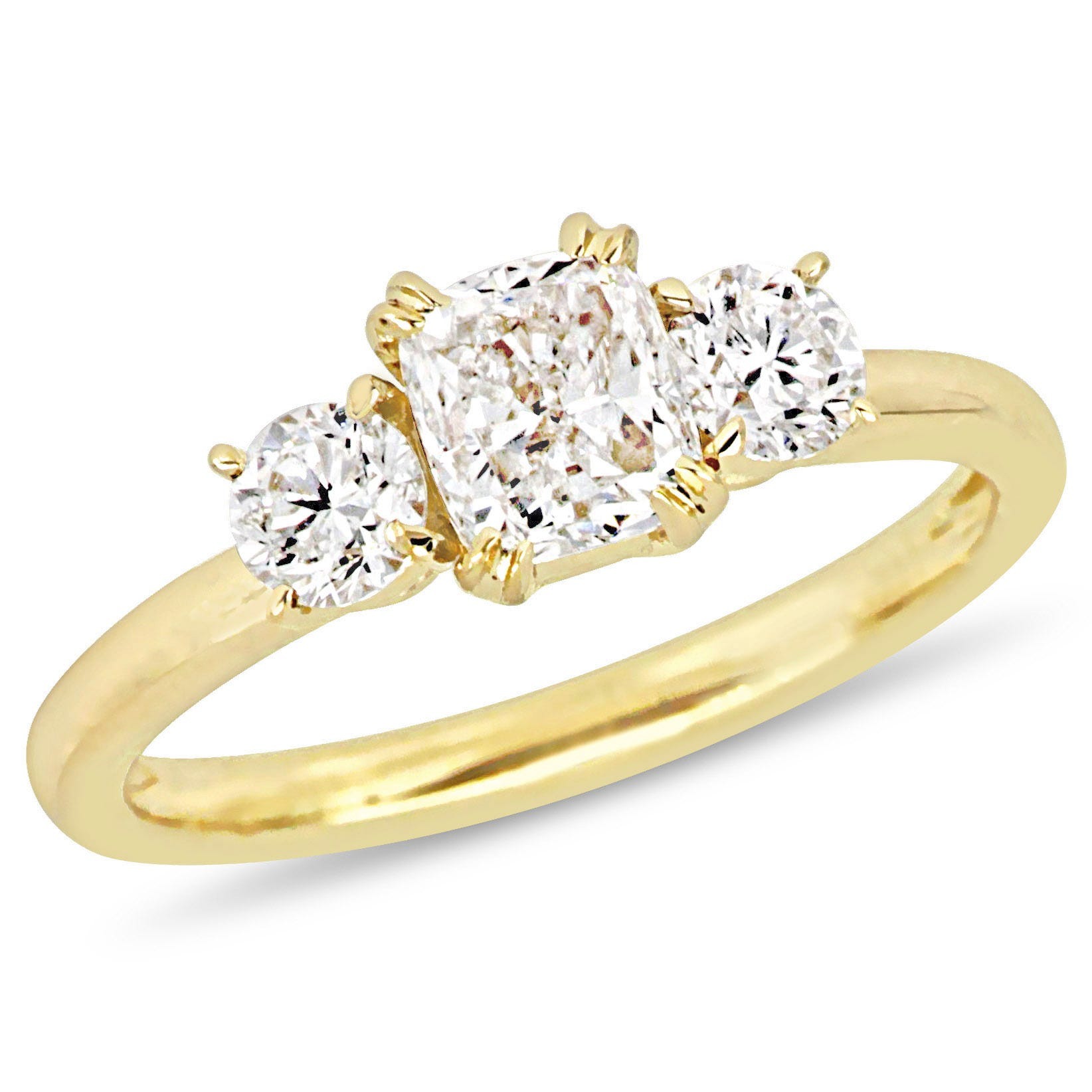 Three-Stone Cushion & Round 1½ctw. Diamond Engagement Ring in 14k Yellow Gold