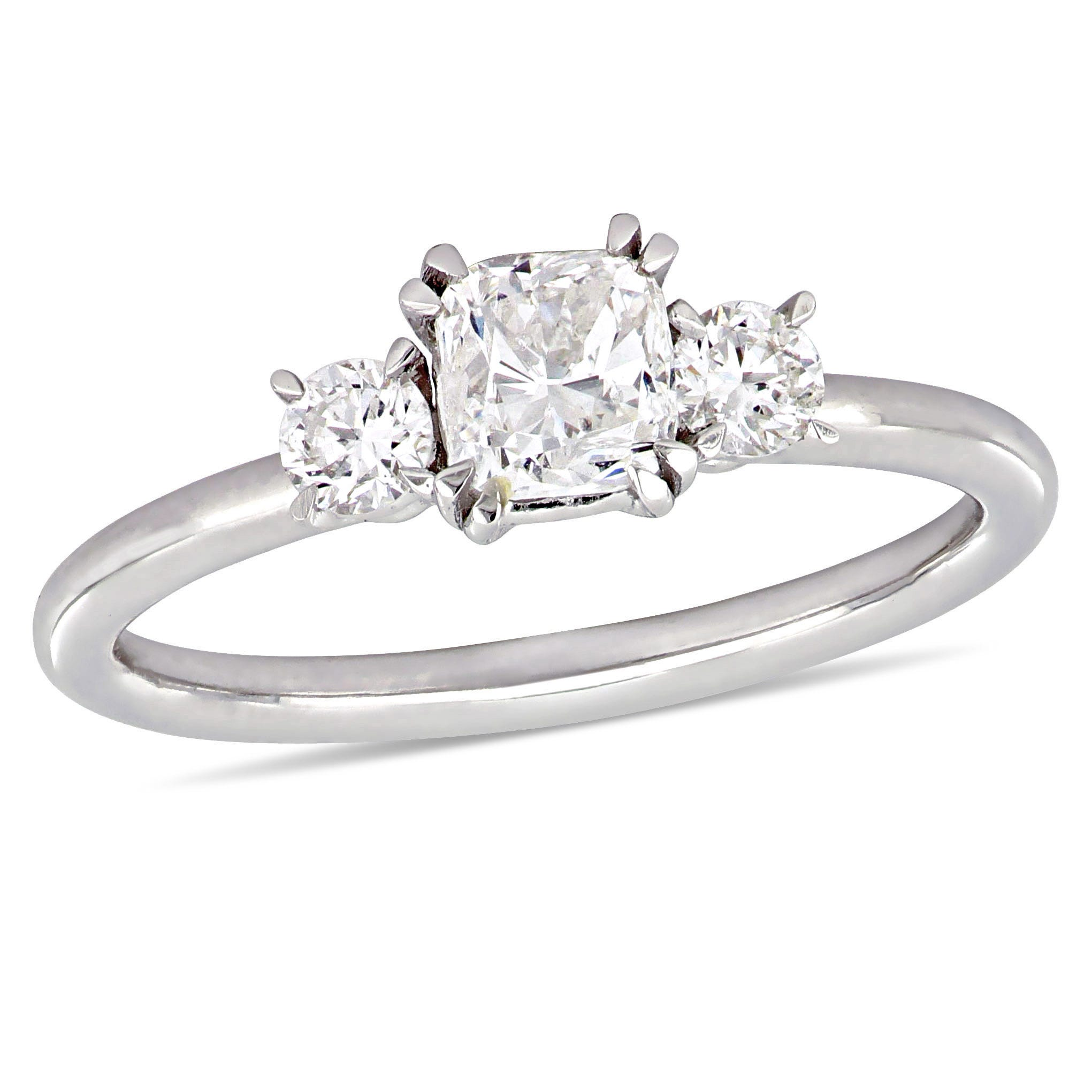 Three-Stone Cushion & Round 1ctw. Diamond Engagement Ring in 14k White Gold