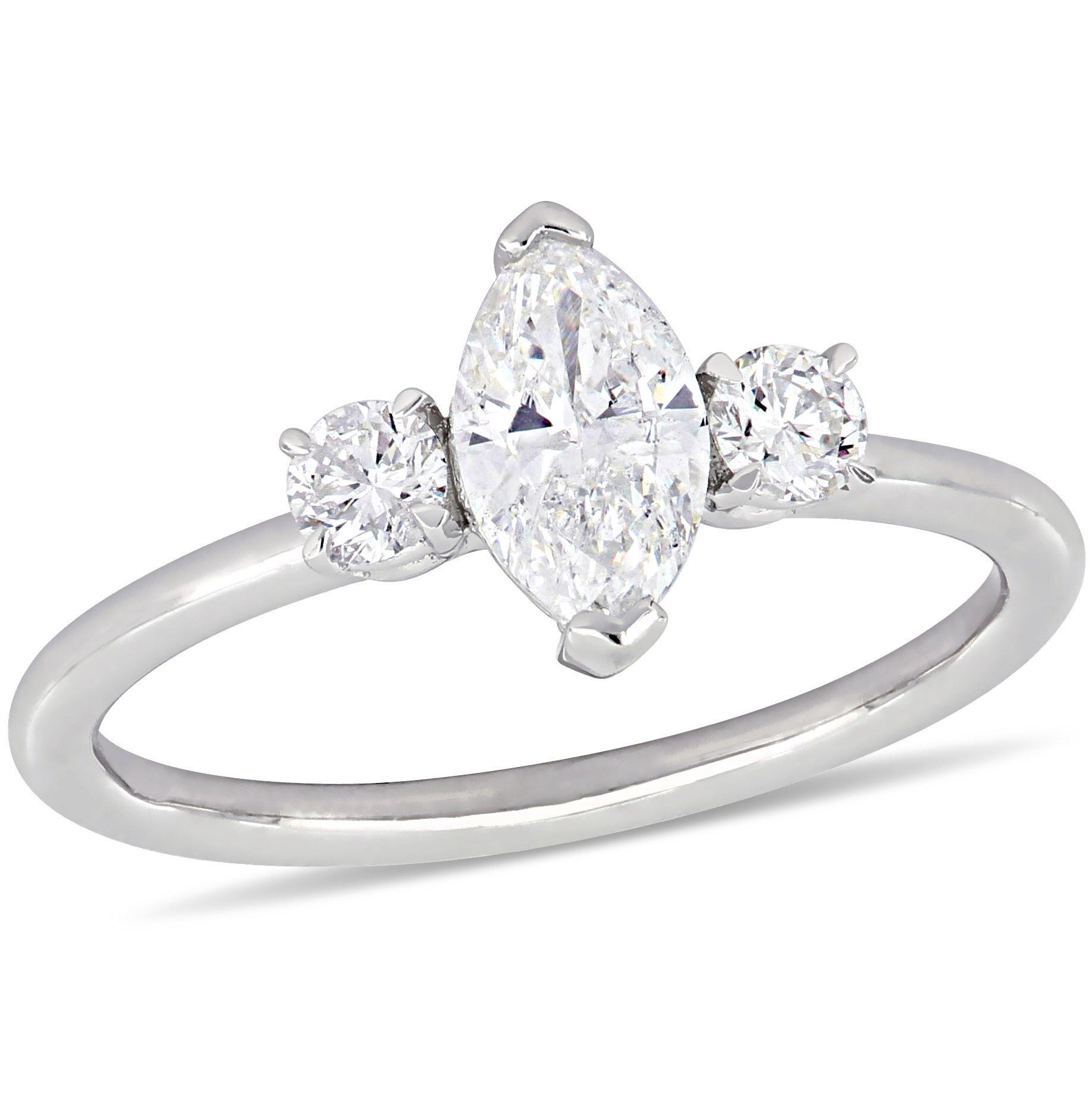 Three-Stone Marquise & Round 1ctw. Diamond Engagement Ring in 14k White Gold