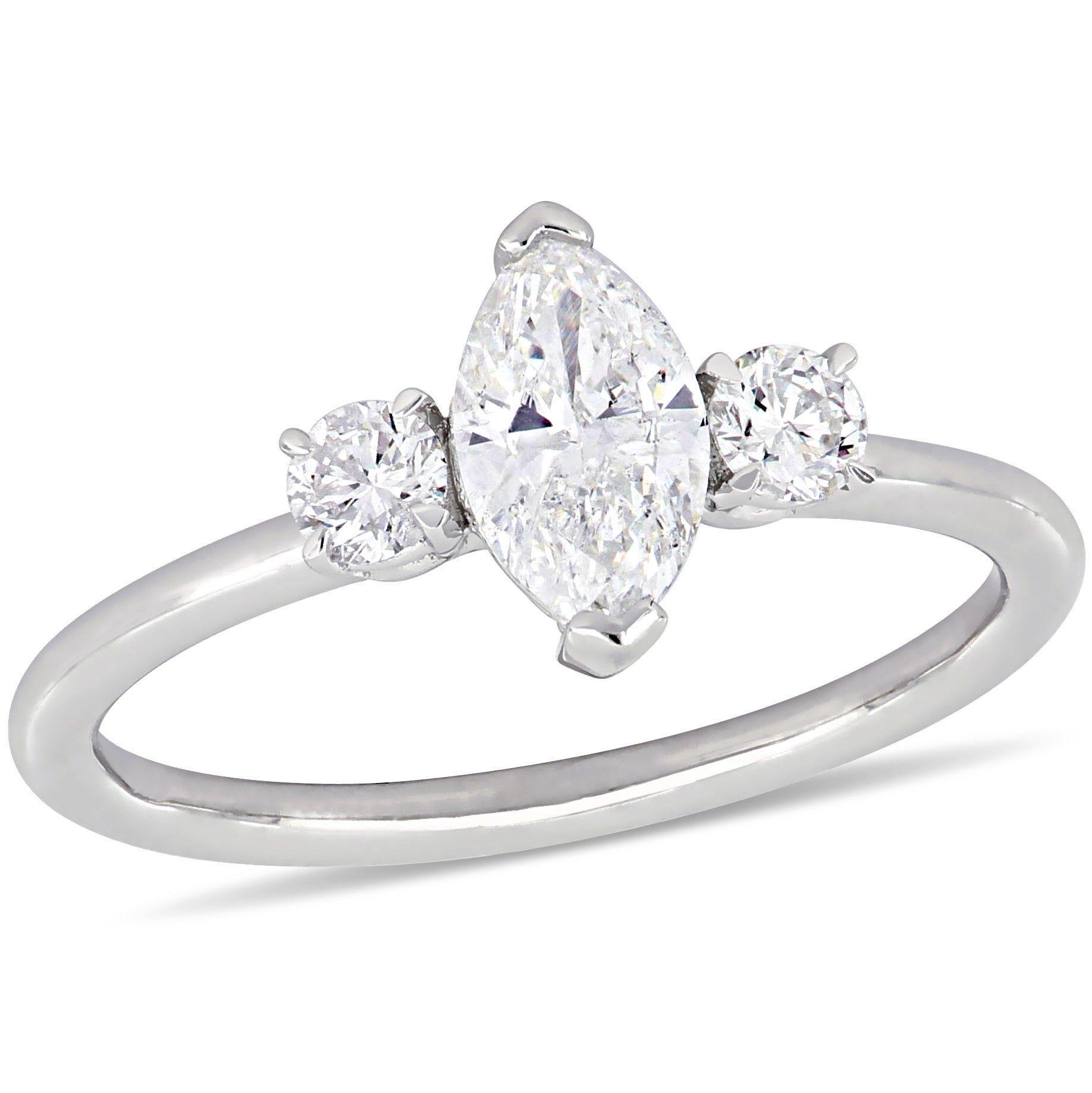 Three-Stone Marquise & Round 1ctw. Diamond Engagement Ring in 14k White Gold