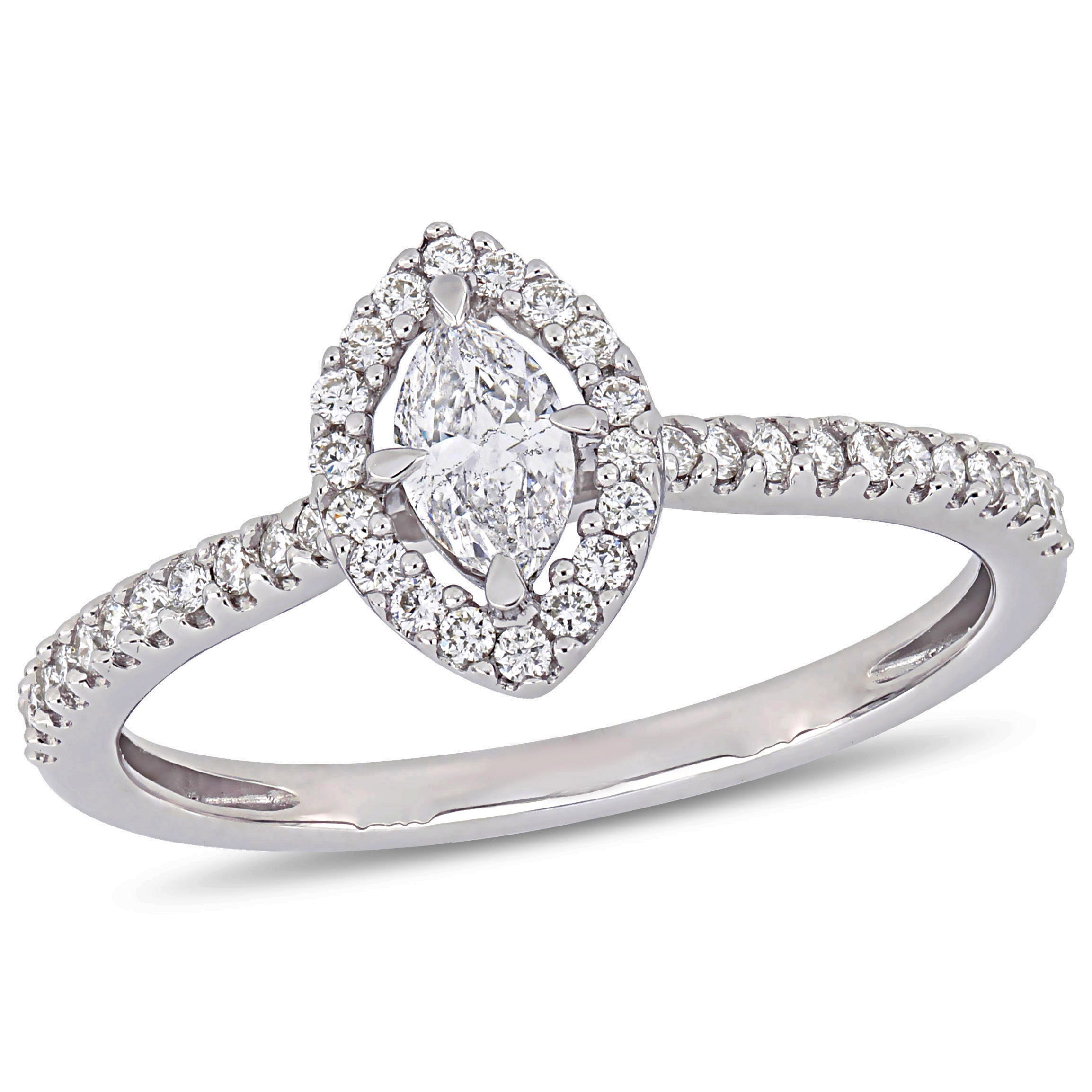 Marquise Diamond & Floating Halo ½ctw. Engagement Ring in 14k White Gold