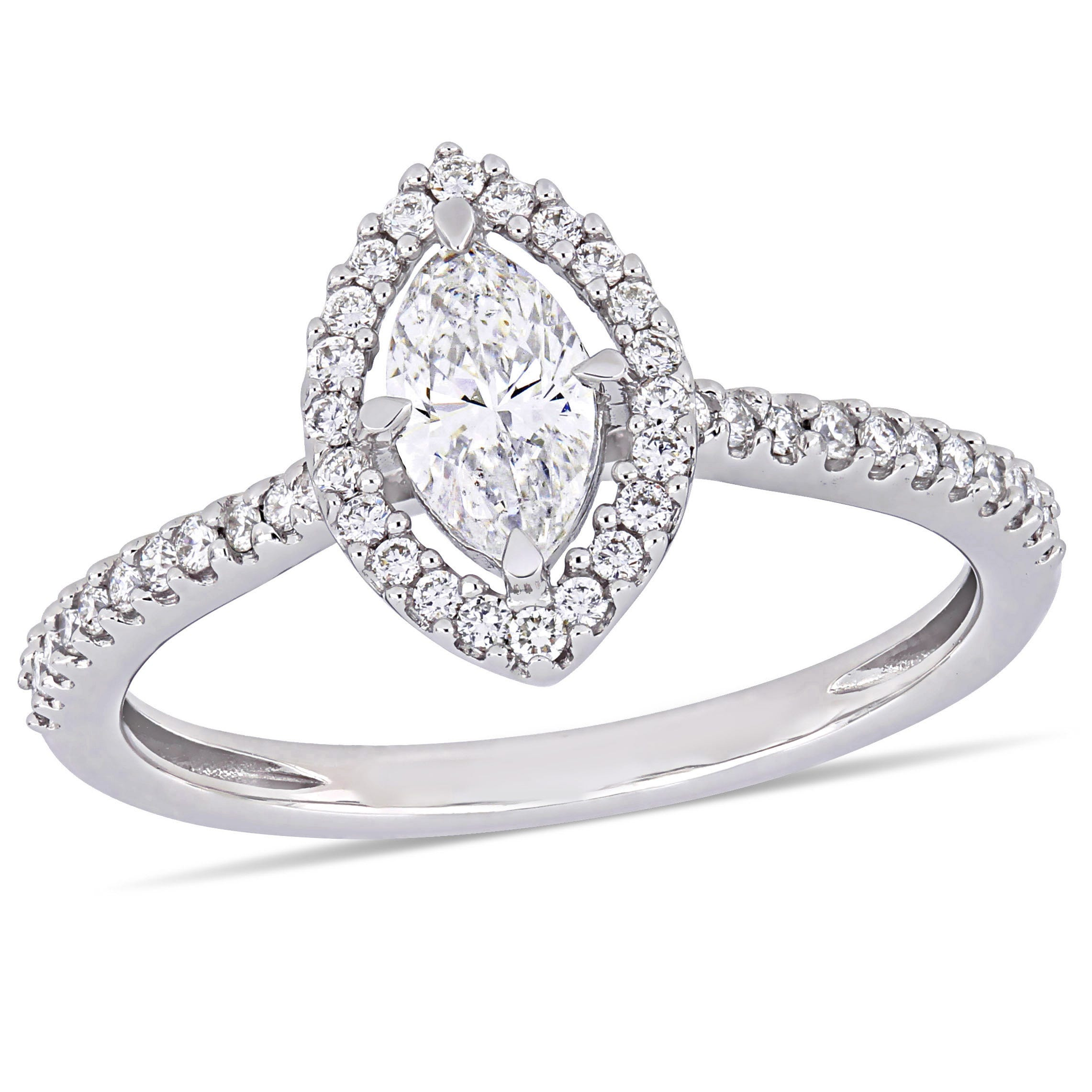 Marquise Diamond & Floating Halo 3/4ctw. Engagement Ring in 14k White Gold