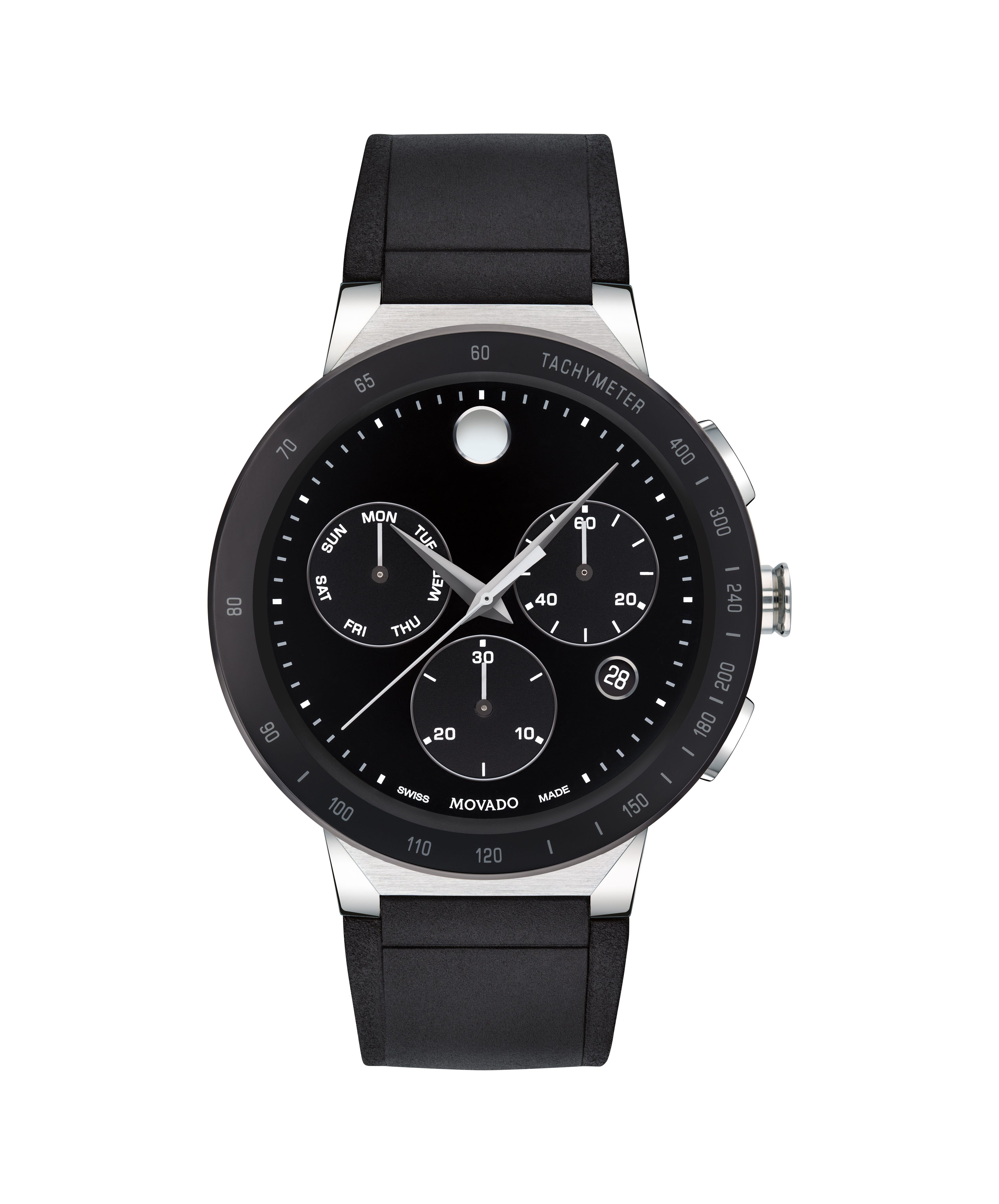 Movado Men's Sapphire Chronograph Stainless Steel Rubber Strap Watch 43mm 0607240