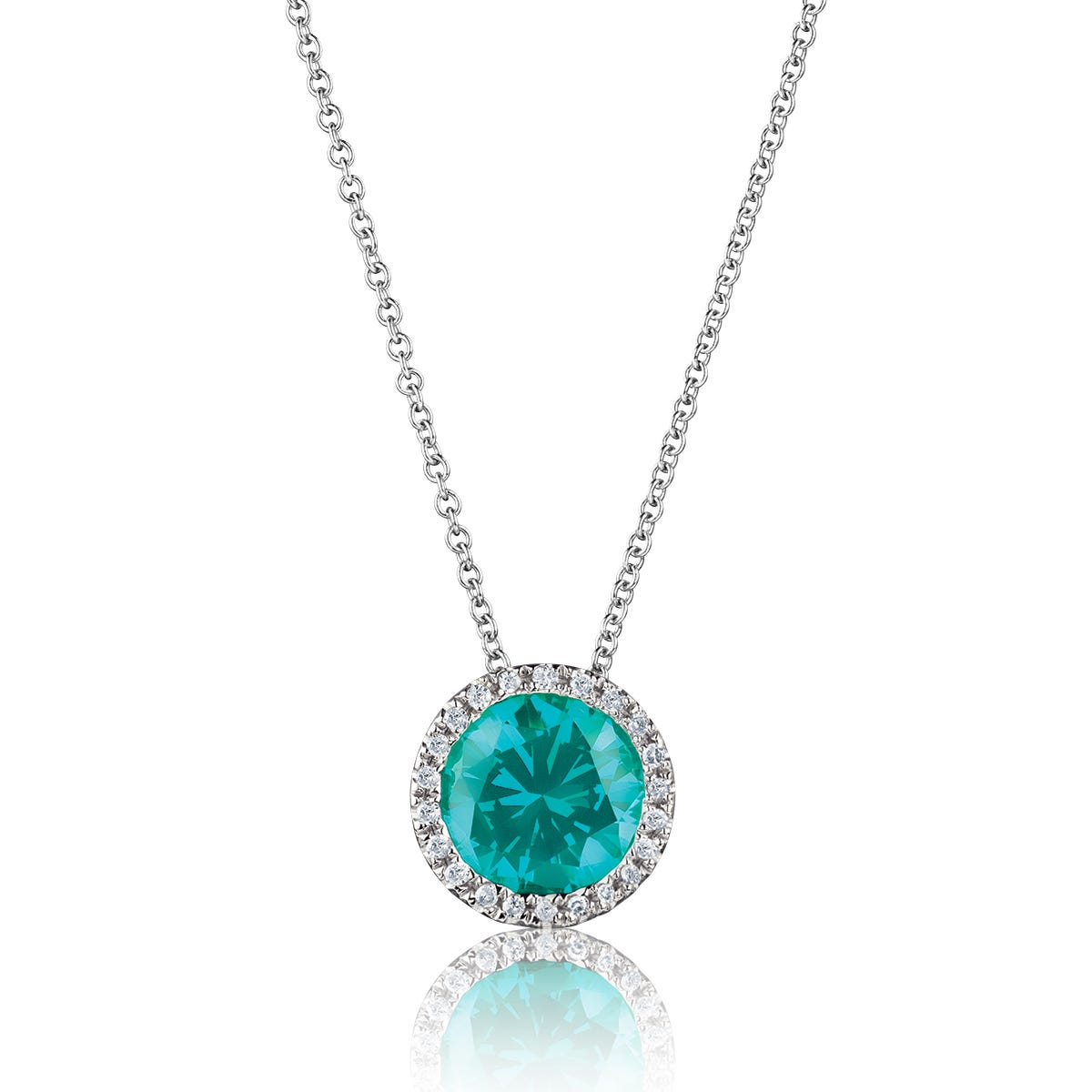 Fiji Blue Created Round Spinel & Diamond Halo Pendant
