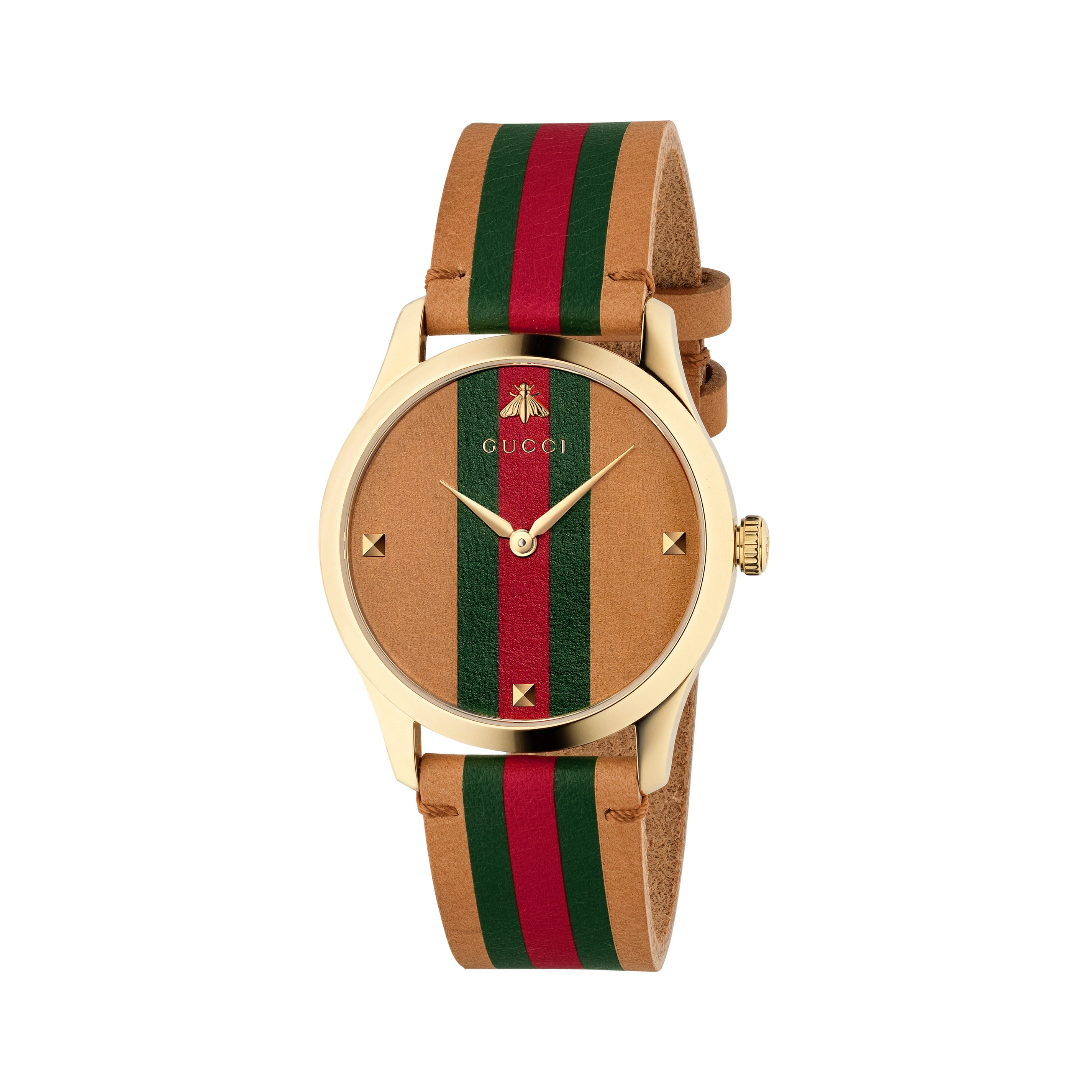 Gucci G,Timeless Brown, Red and Green Striped Leather Strap Watch YA1264077