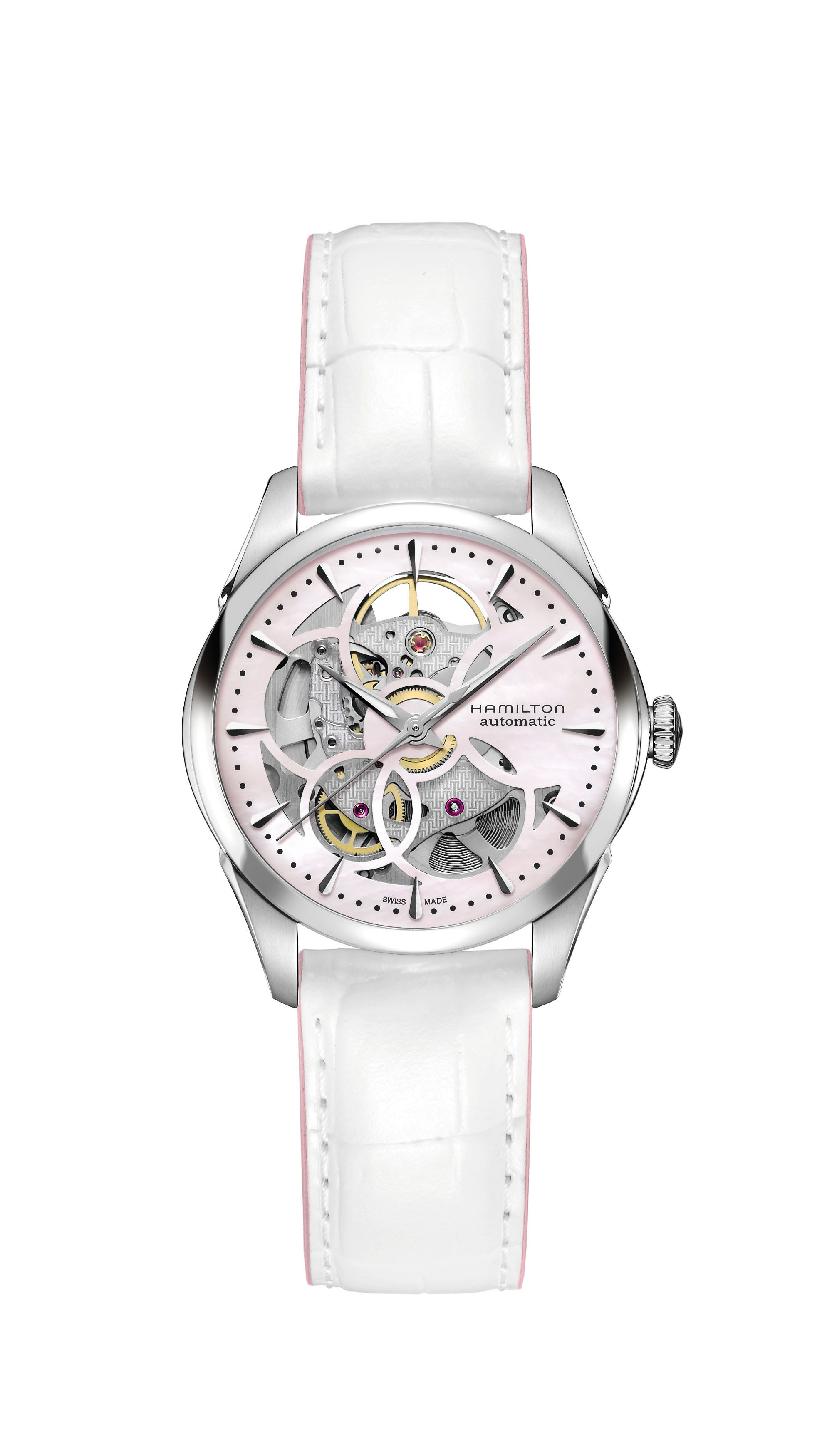 Hamilton Ladies Pink Jazzmaster Viewmatic Skeleton Automatic 36mm Watch H32405871