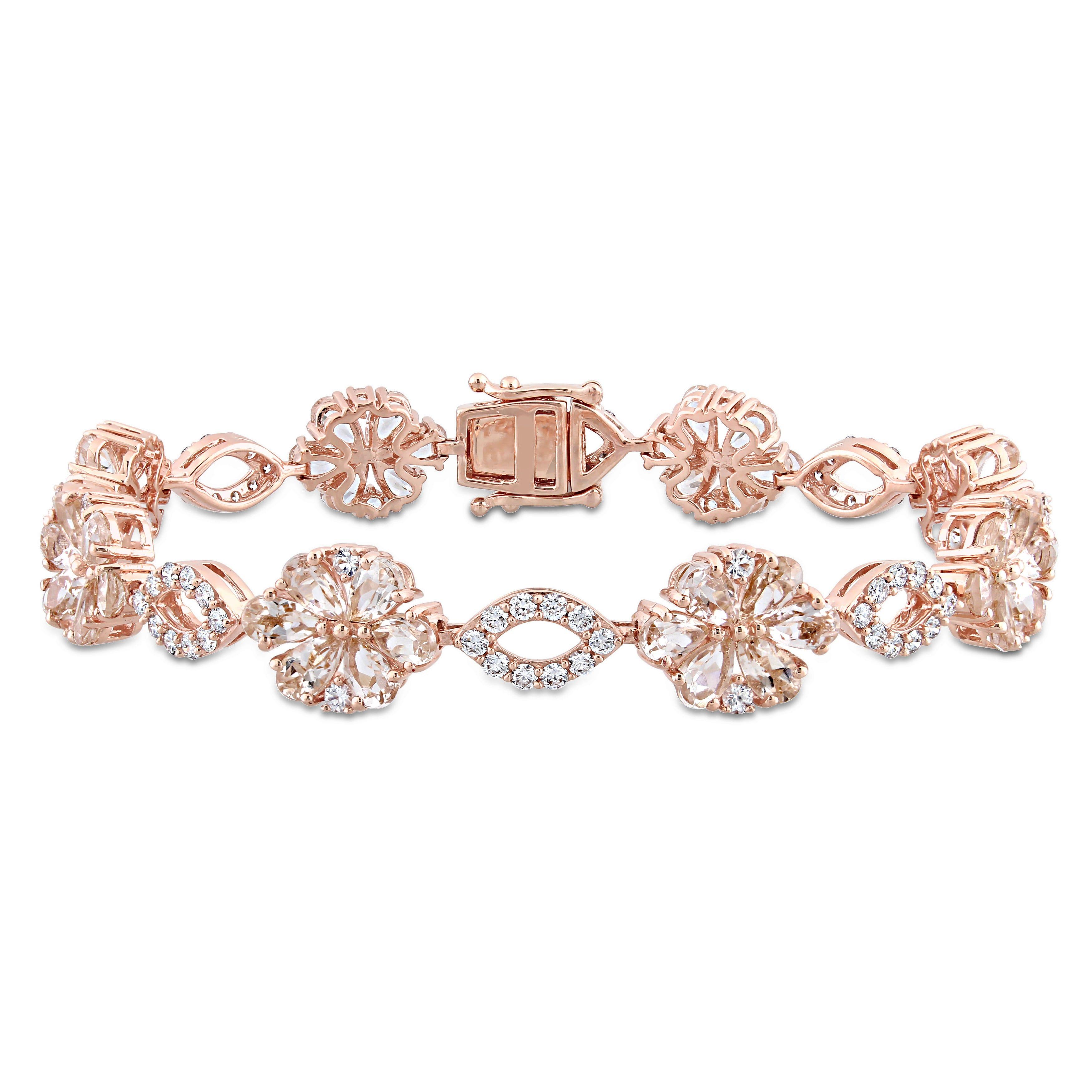 Morganite, White Sapphire & 1¼ctw. Diamond Flower Bracelet in 14k Rose Gold