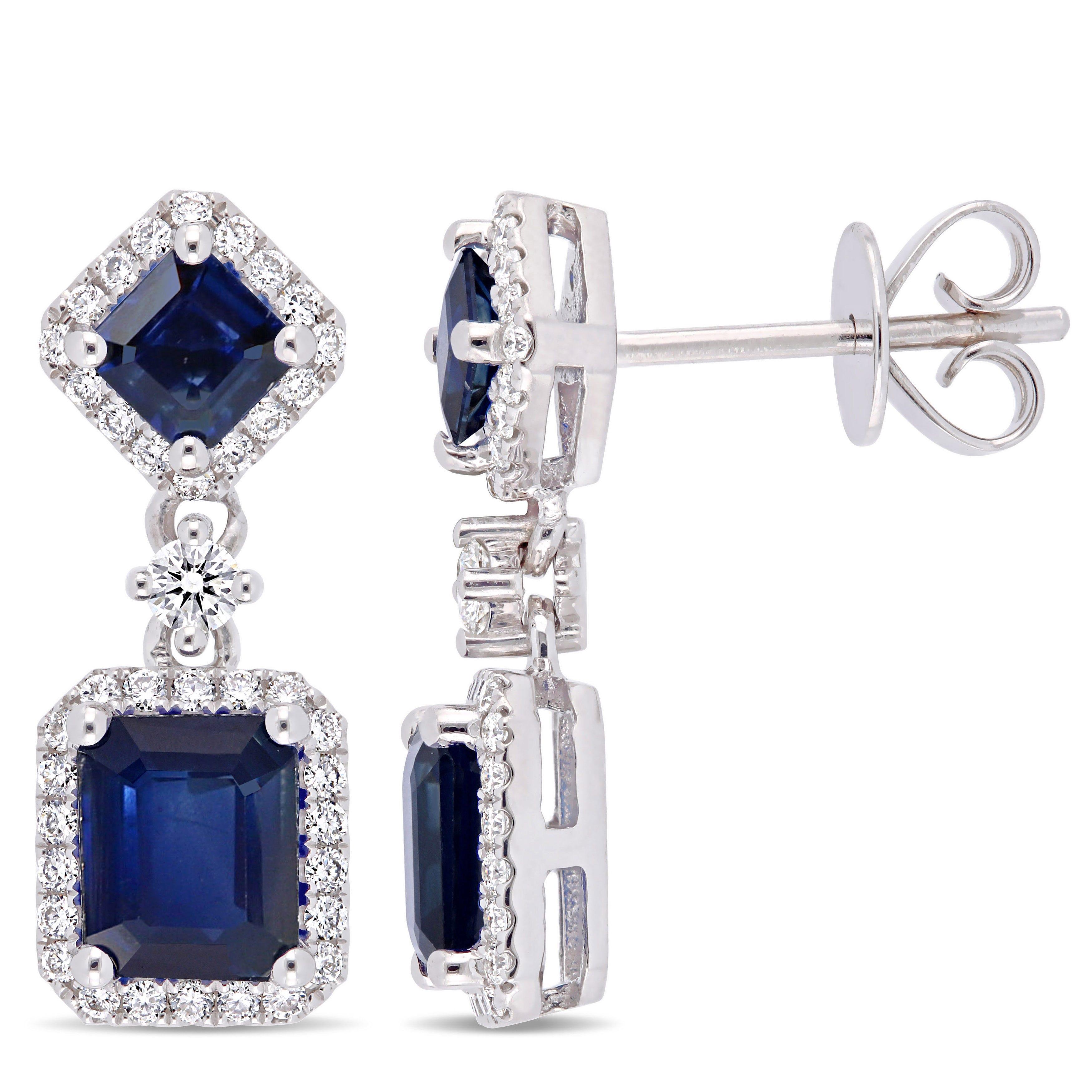 Blue Sapphire & Diamond Dangle Halo Statement Earrings in 14k White Gold