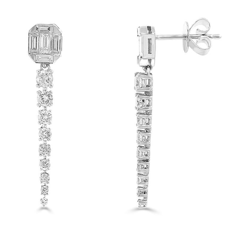 EFFY Diamond Baguette Dangle Earrings in 14k White Gold