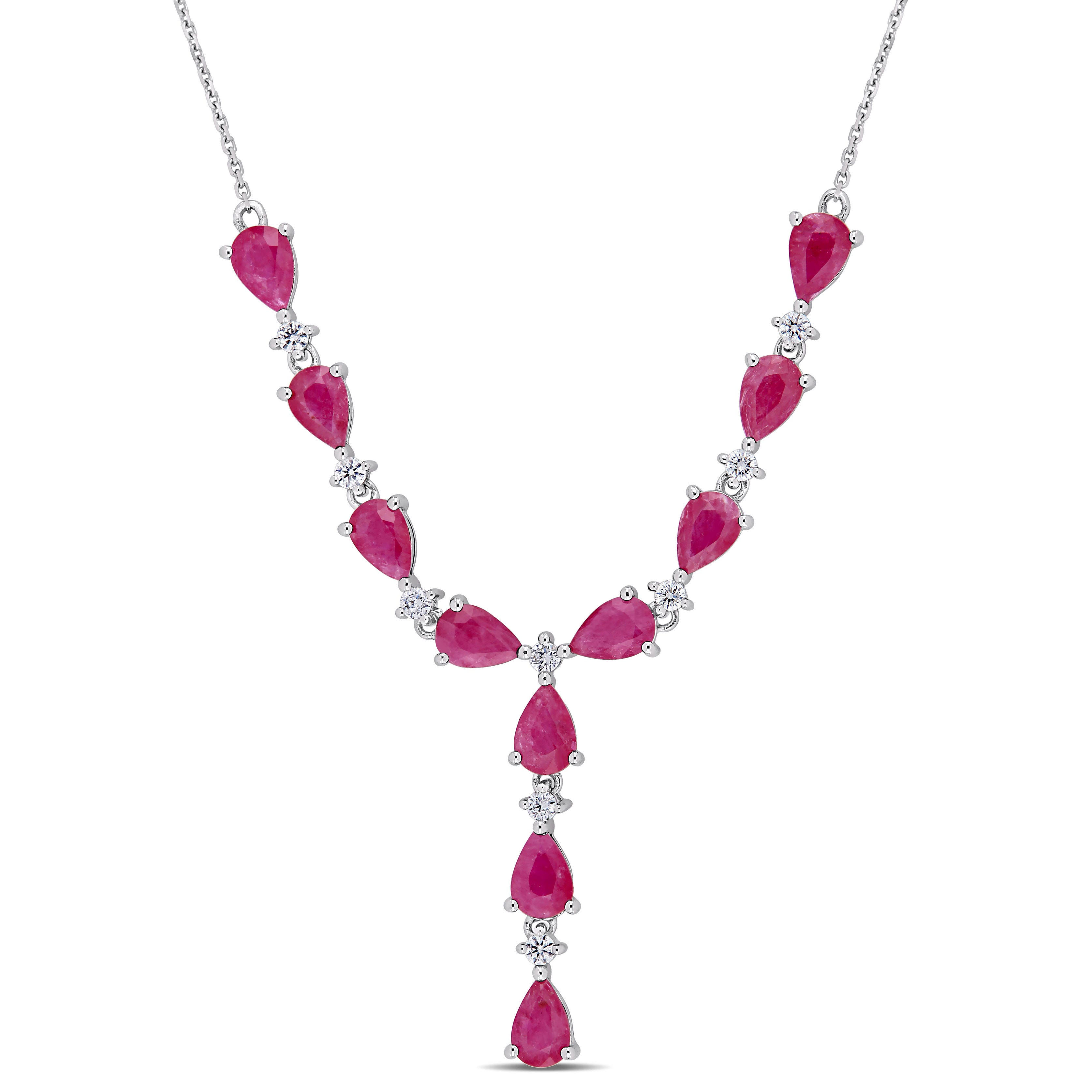 Pear Ruby & Diamond Lariat Necklace in 14k White Gold