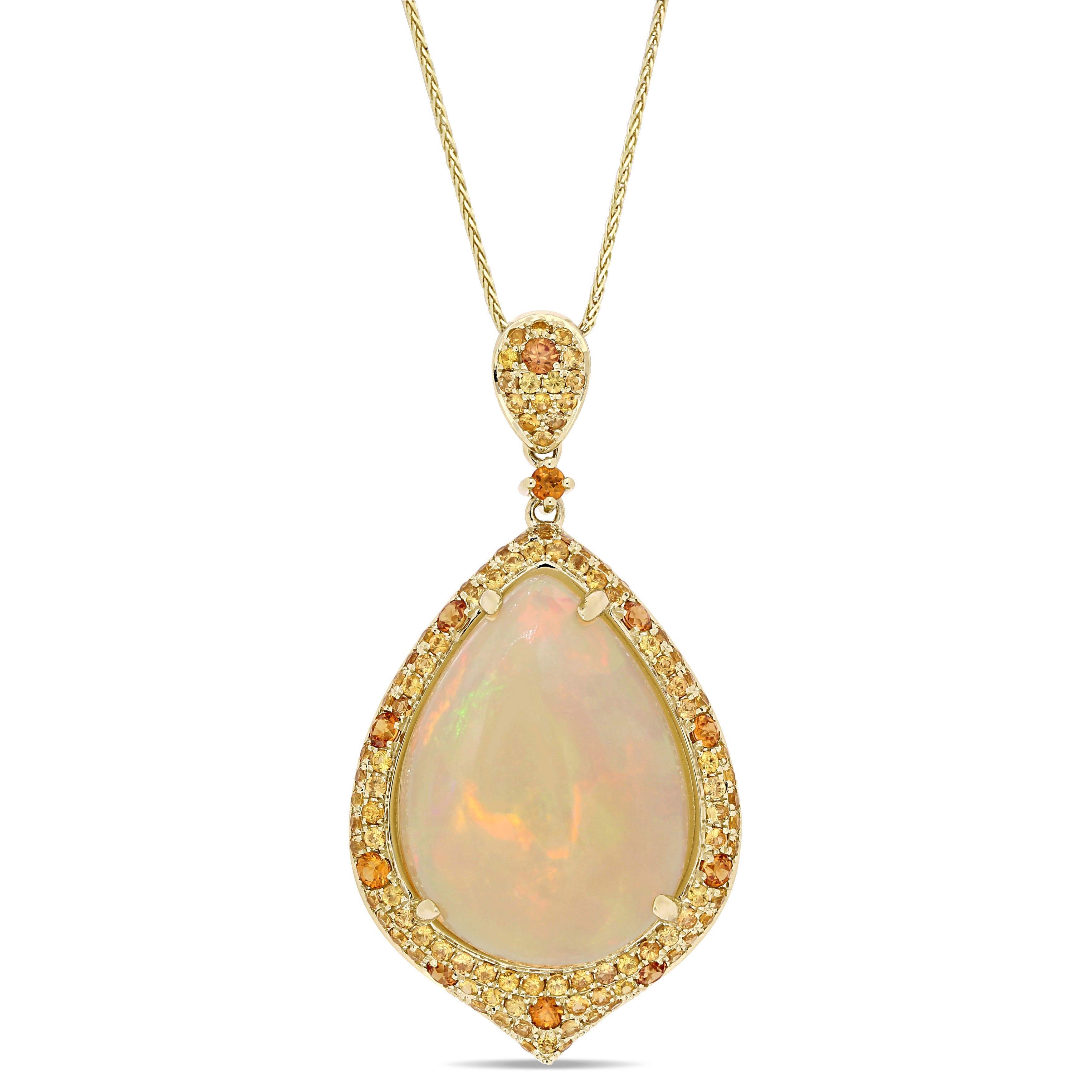 Pear Opal, Yellow & Orange Sapphire Halo Pendant in 14k Yellow Gold