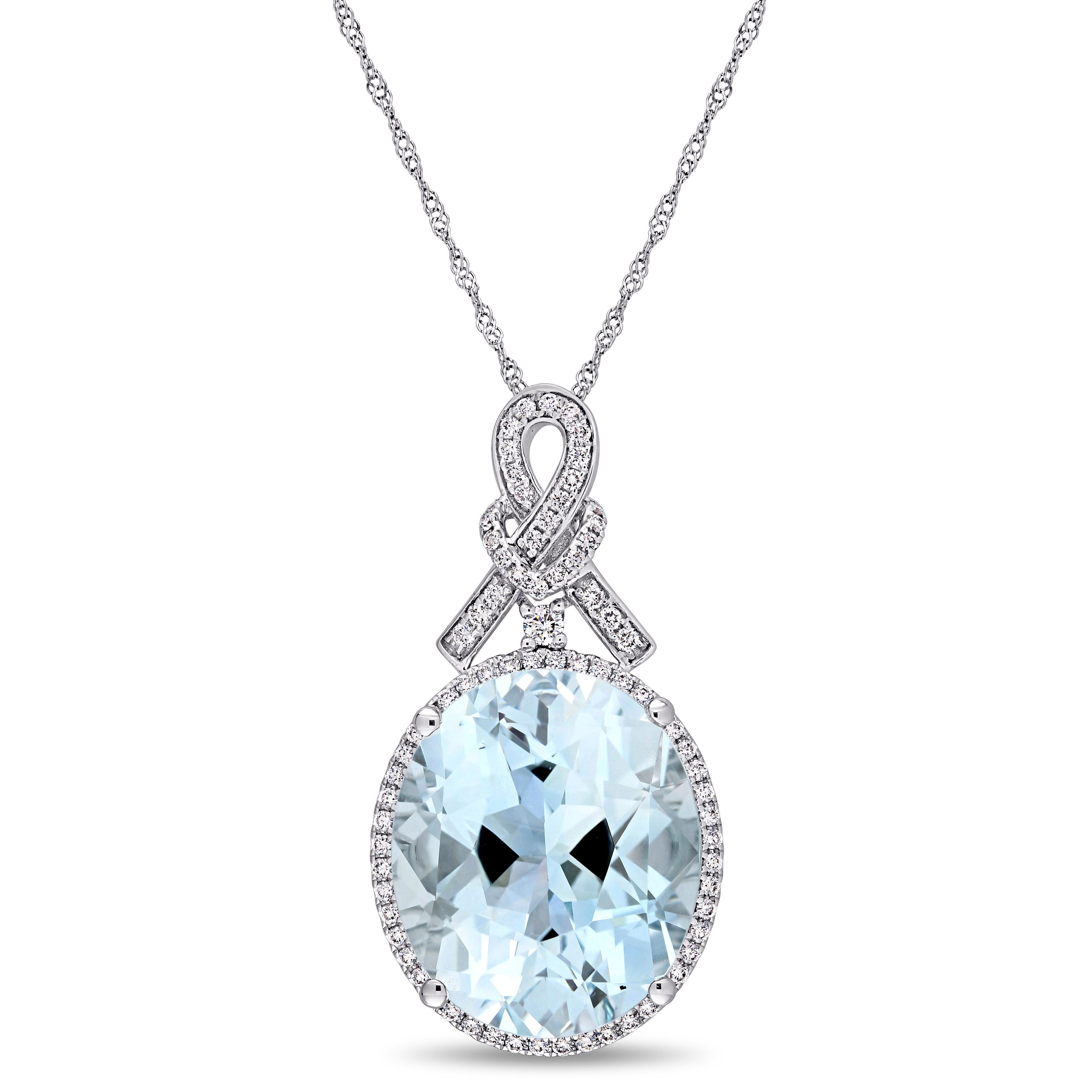 Oval Sky Blue Topaz & 1ctw. Diamond Halo Pendant in 14k White Gold