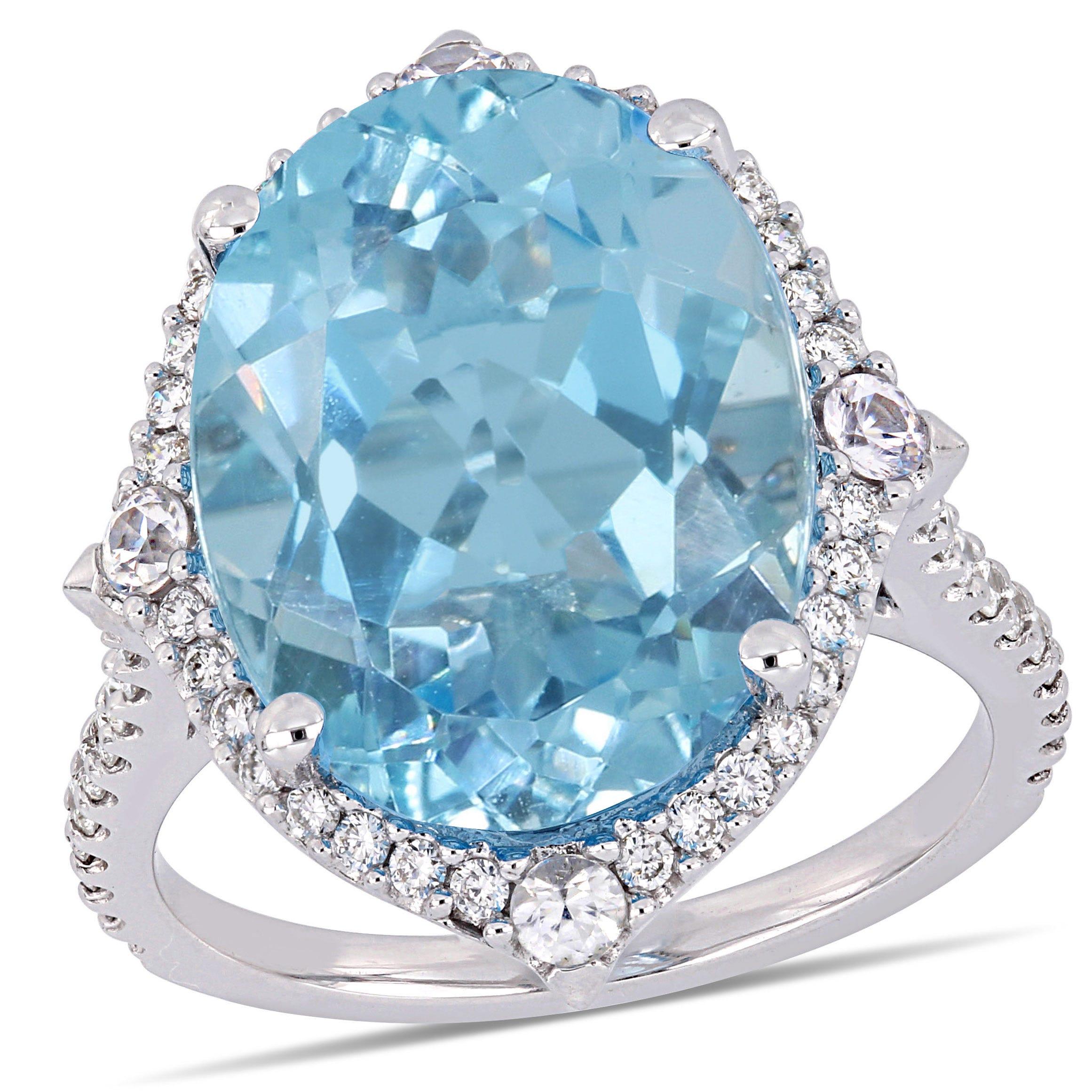 Oval Sky Blue Topaz & Diamond Halo Cocktail Ring in 14k White Gold