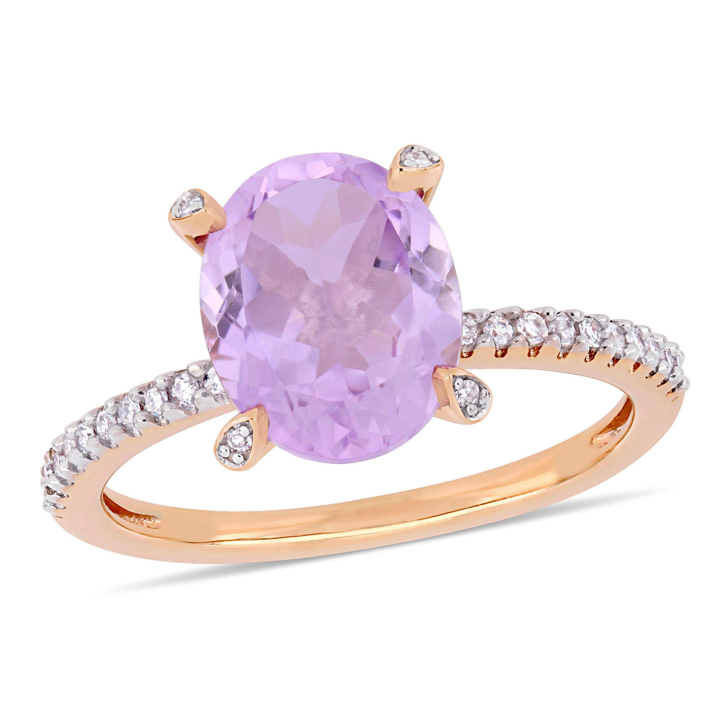 Oval Rose De France Gemstone & Diamond Engagement Ring in 10k Rose Gold