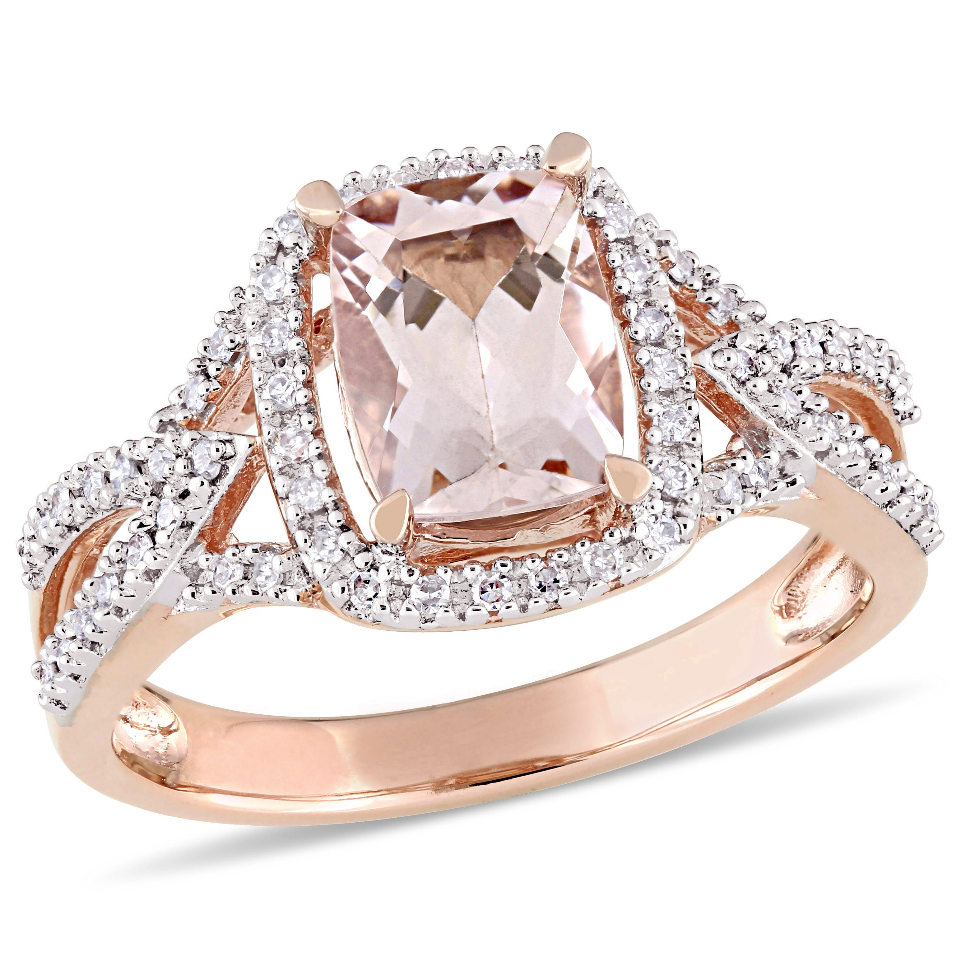 Elongated Cushion Cut Morganite Diamond Halo Engagement Ring In 10k Rose Gold