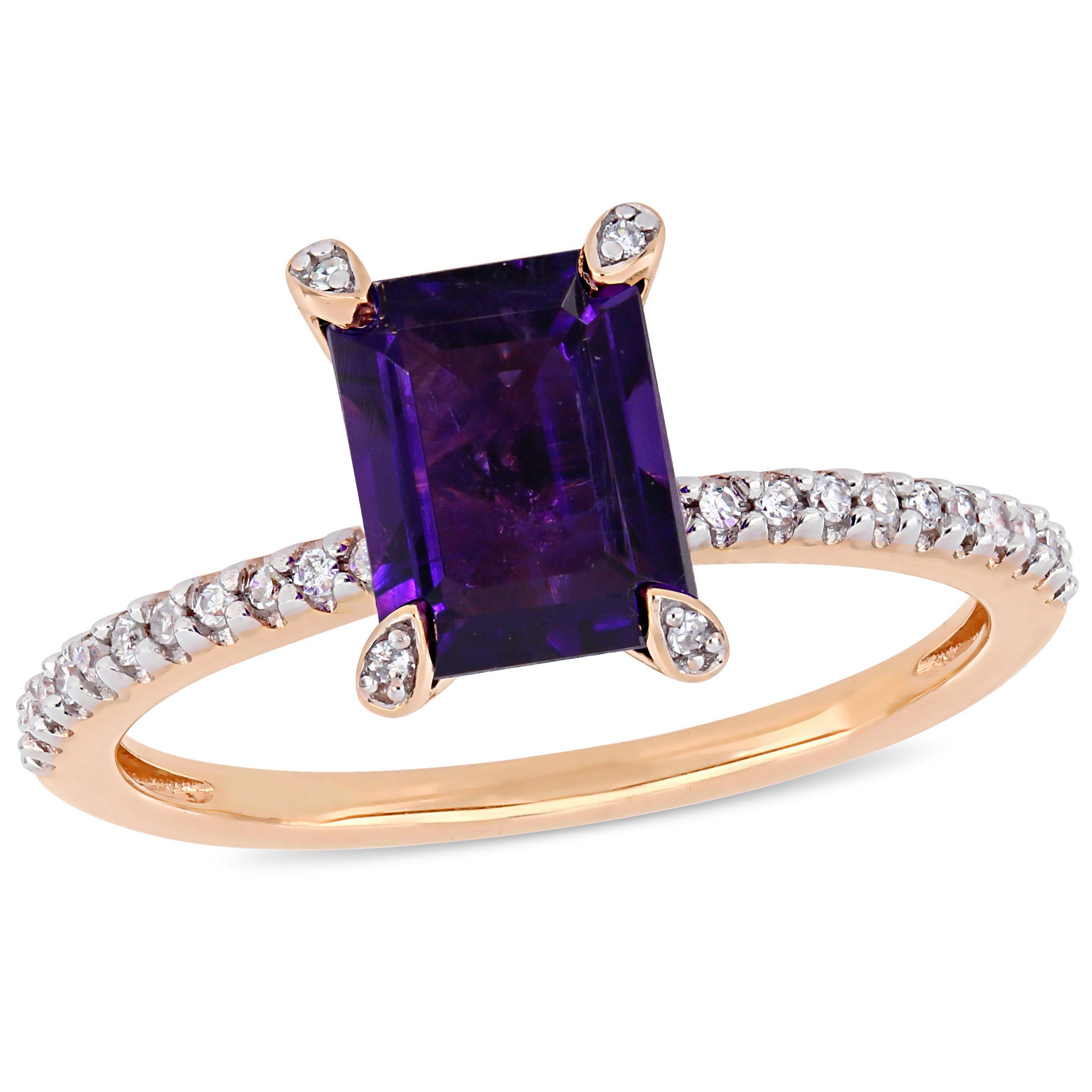 Emerald-Cut Amethyst Solitaire Engagement Ring in 10k Rose Gold