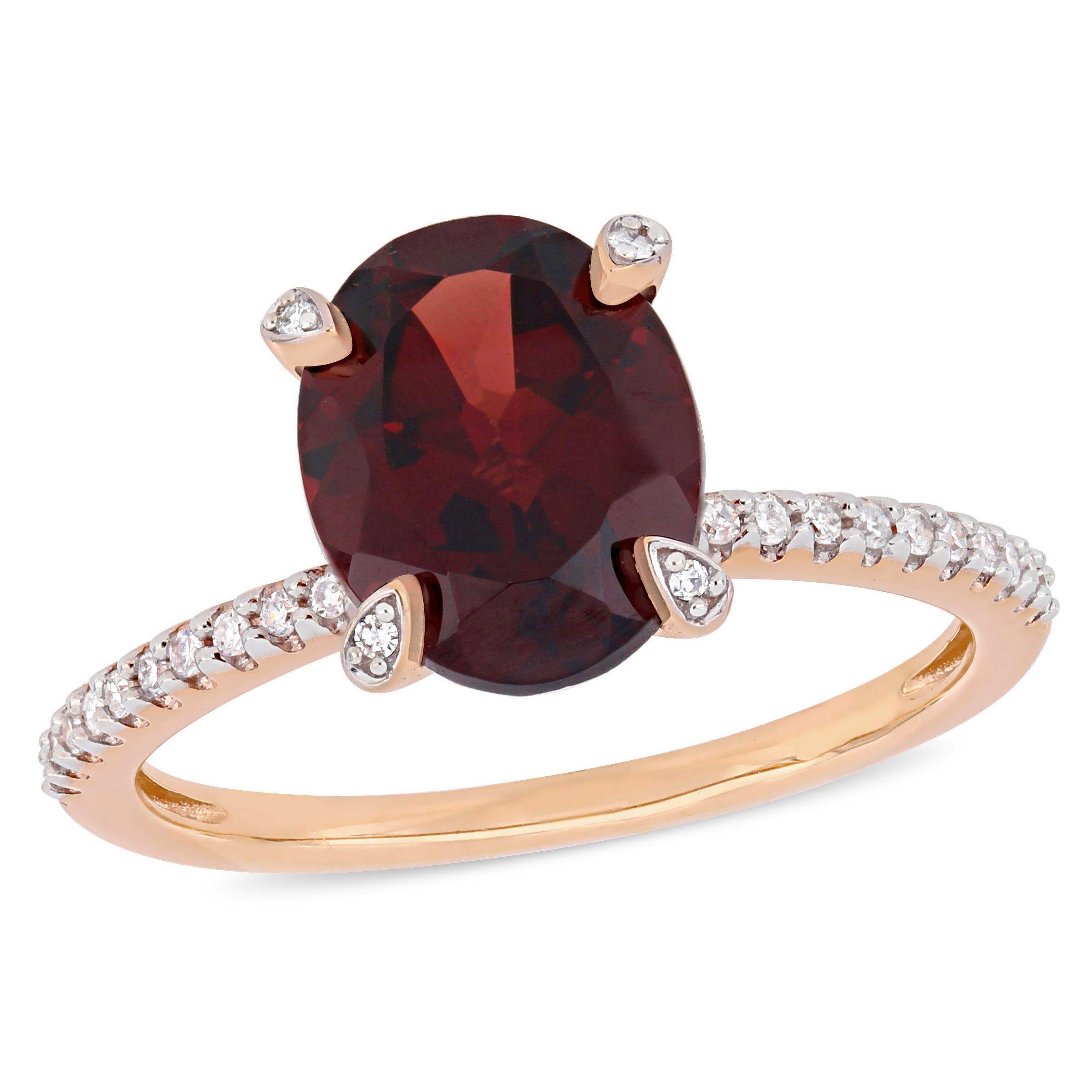 Oval Garnet & Diamond Engagement Ring in 10k Rose Gold