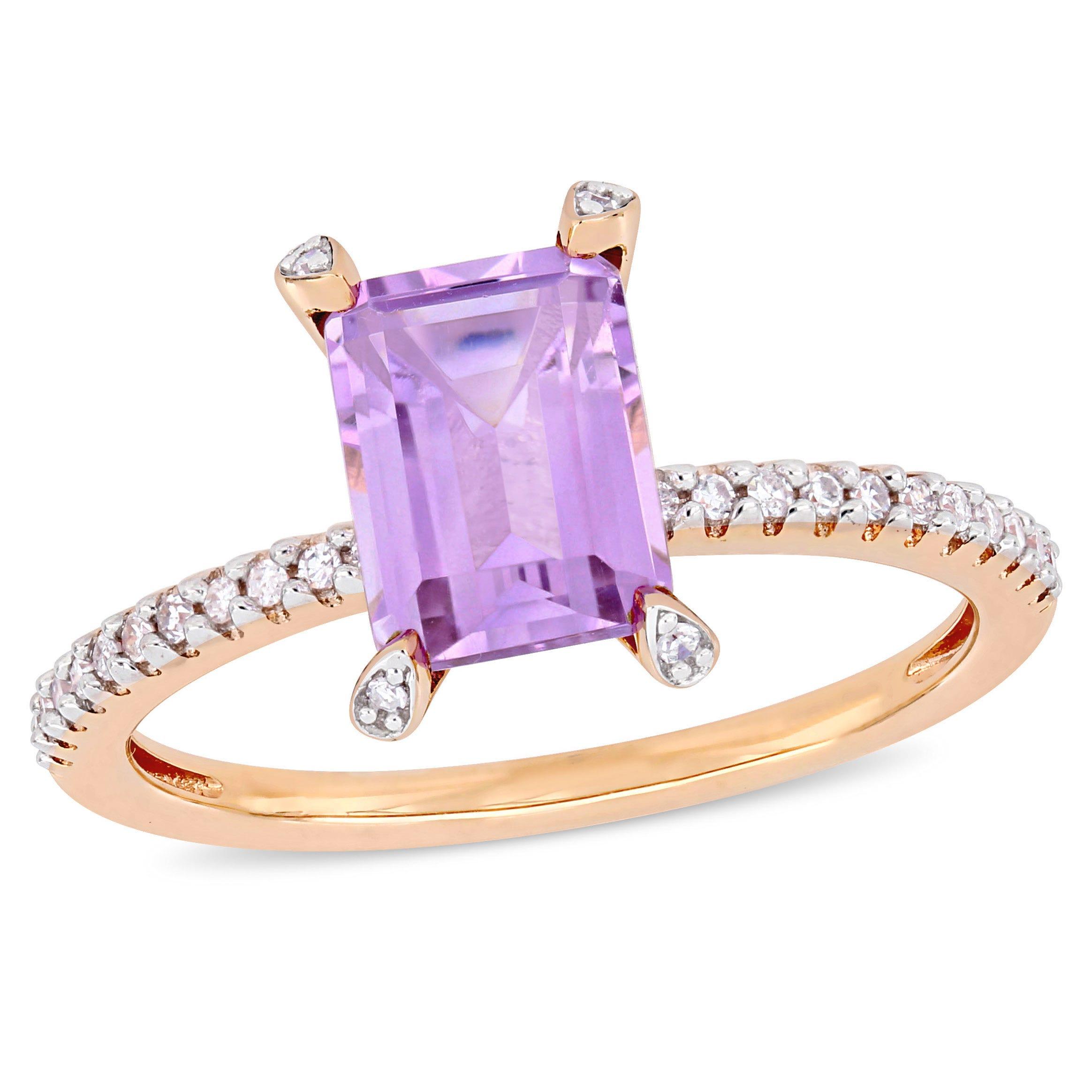 Emerald-Cut Rose De France Gemstone Solitaire Engagement Ring in 10k Rose Gold