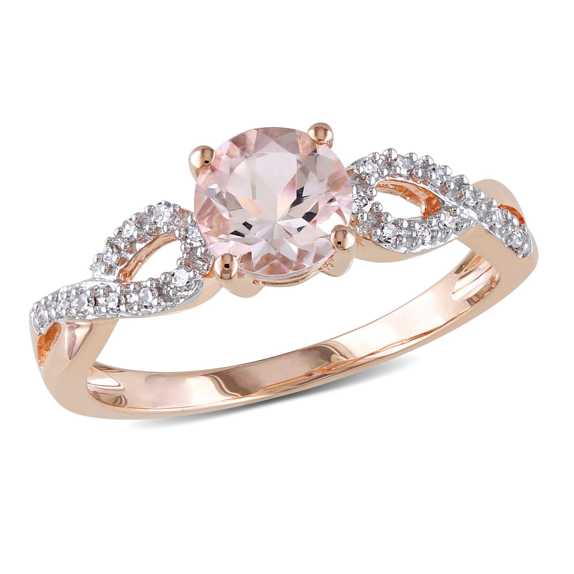 Round Morganite & Diamond Loop Shank Engagement Ring in 10k Rose Gold