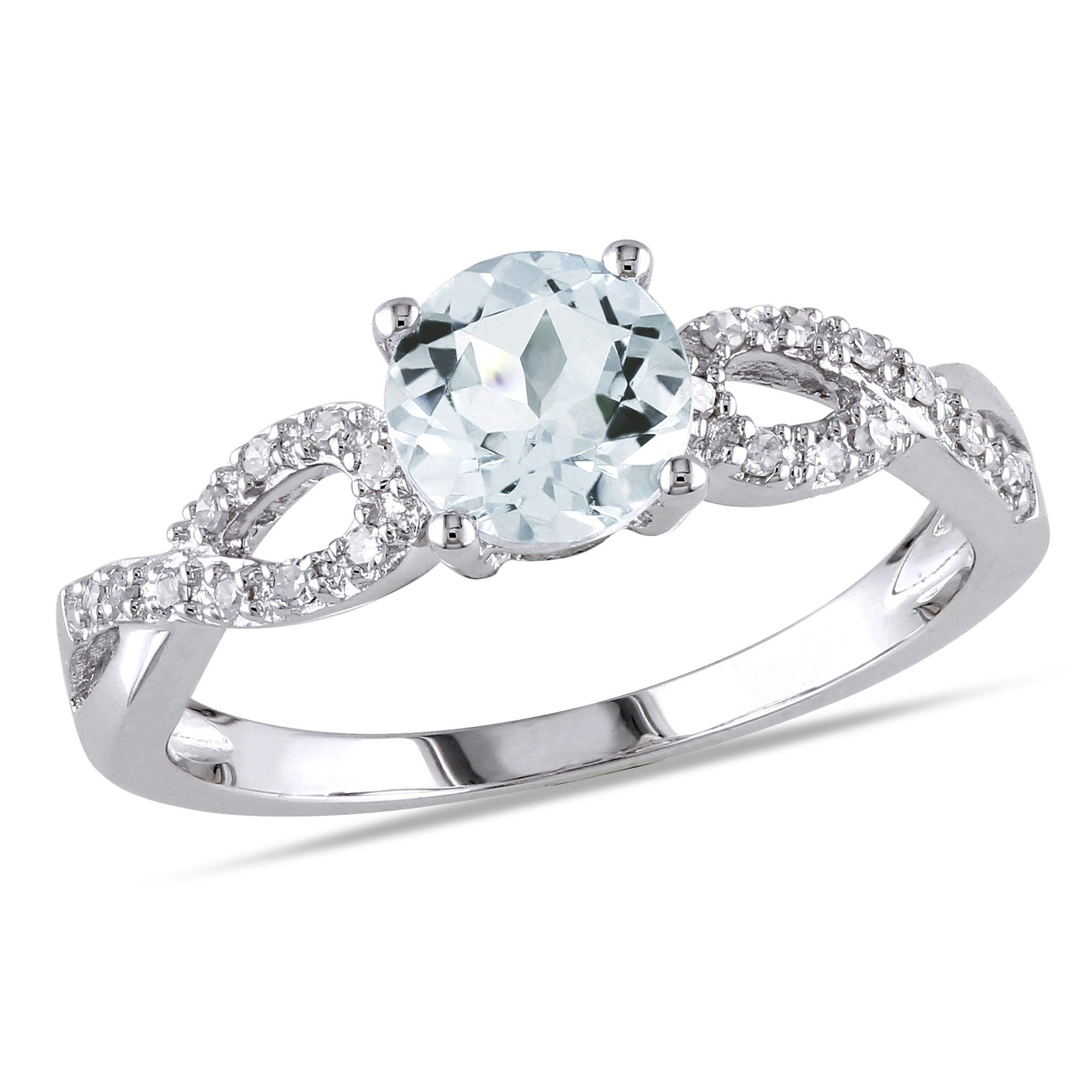 Round Aquamarine & Diamond Loop Shank Engagement Ring in 10k White Gold