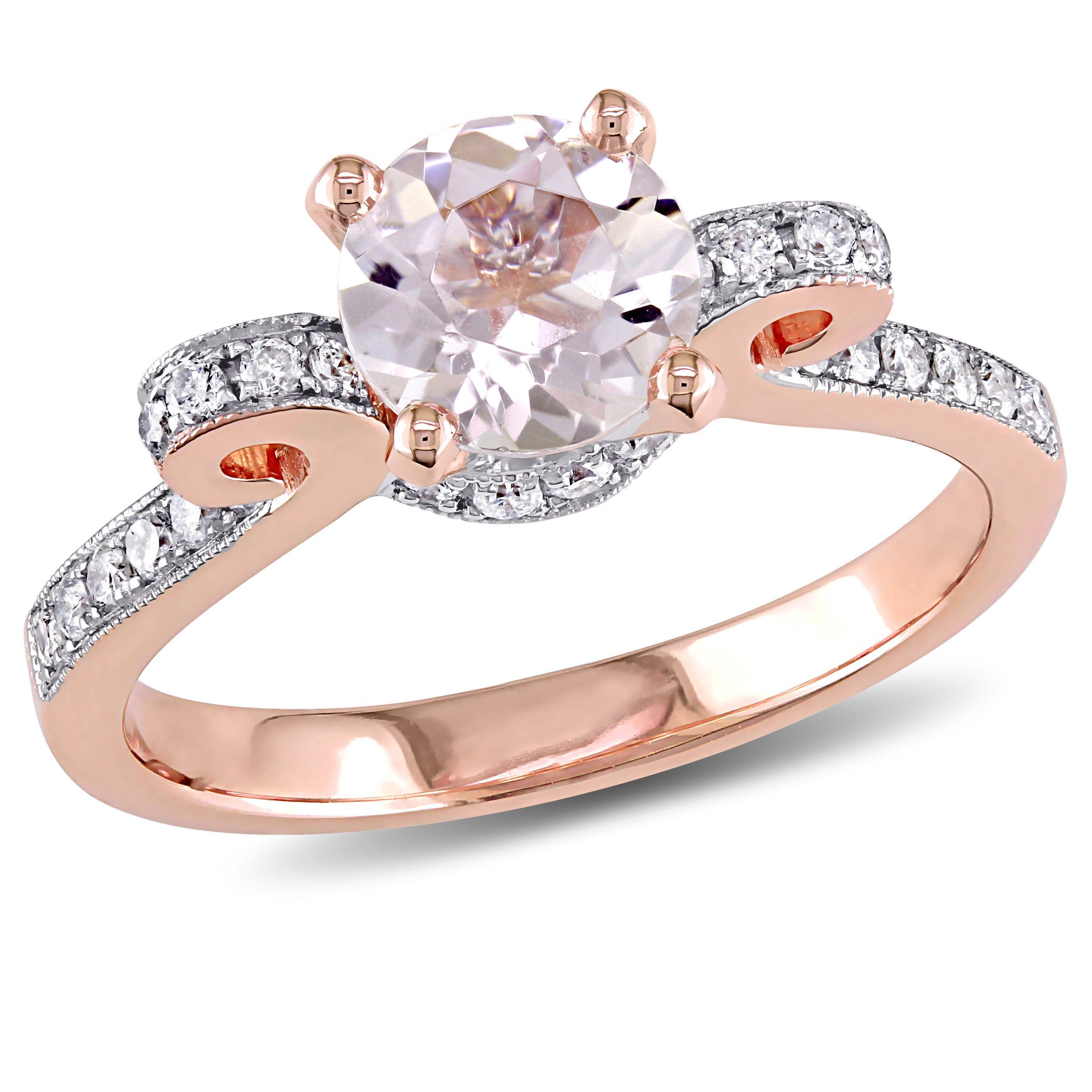 Round Morganite Bow-Design Diamond Engagement Ring in 14k Rose Gold