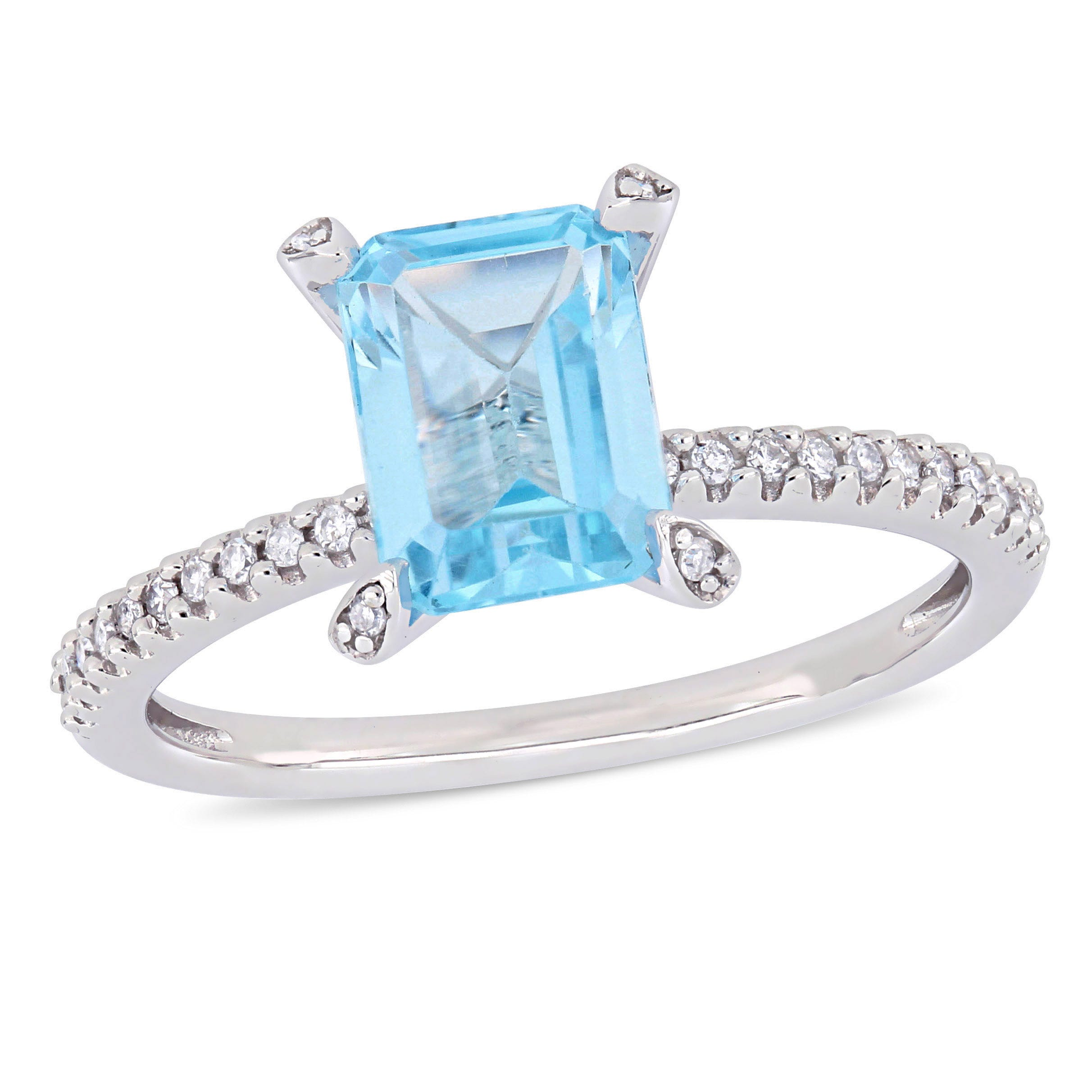 Emerald-Cut Blue Topaz Solitaire Engagement Ring in 10k White Gold