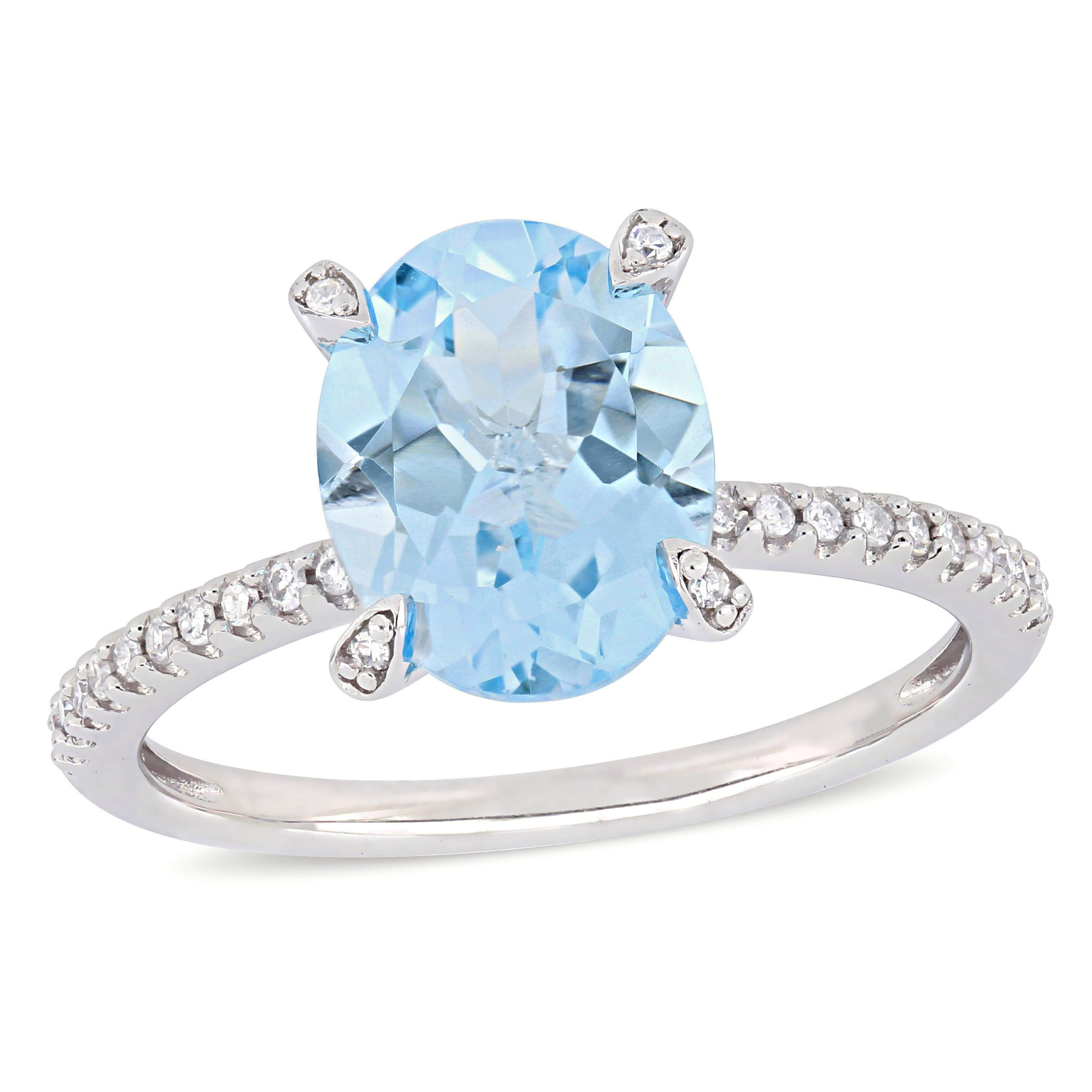 Oval Sky Blue Topaz & Diamond Engagement Ring in 10k White Gold