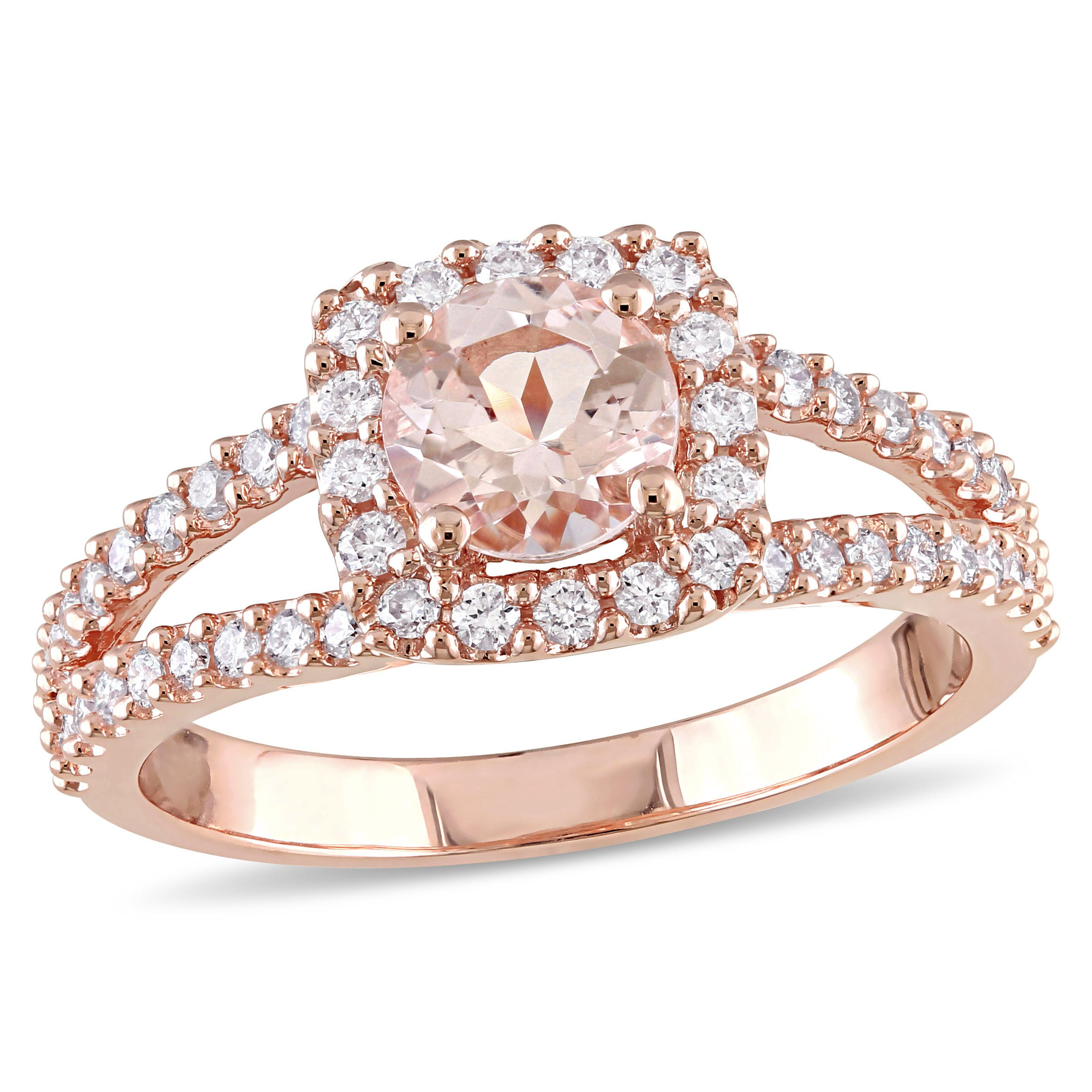 Round Morganite Diamond Halo Split Shank Engagement Ring in 14k Rose Gold