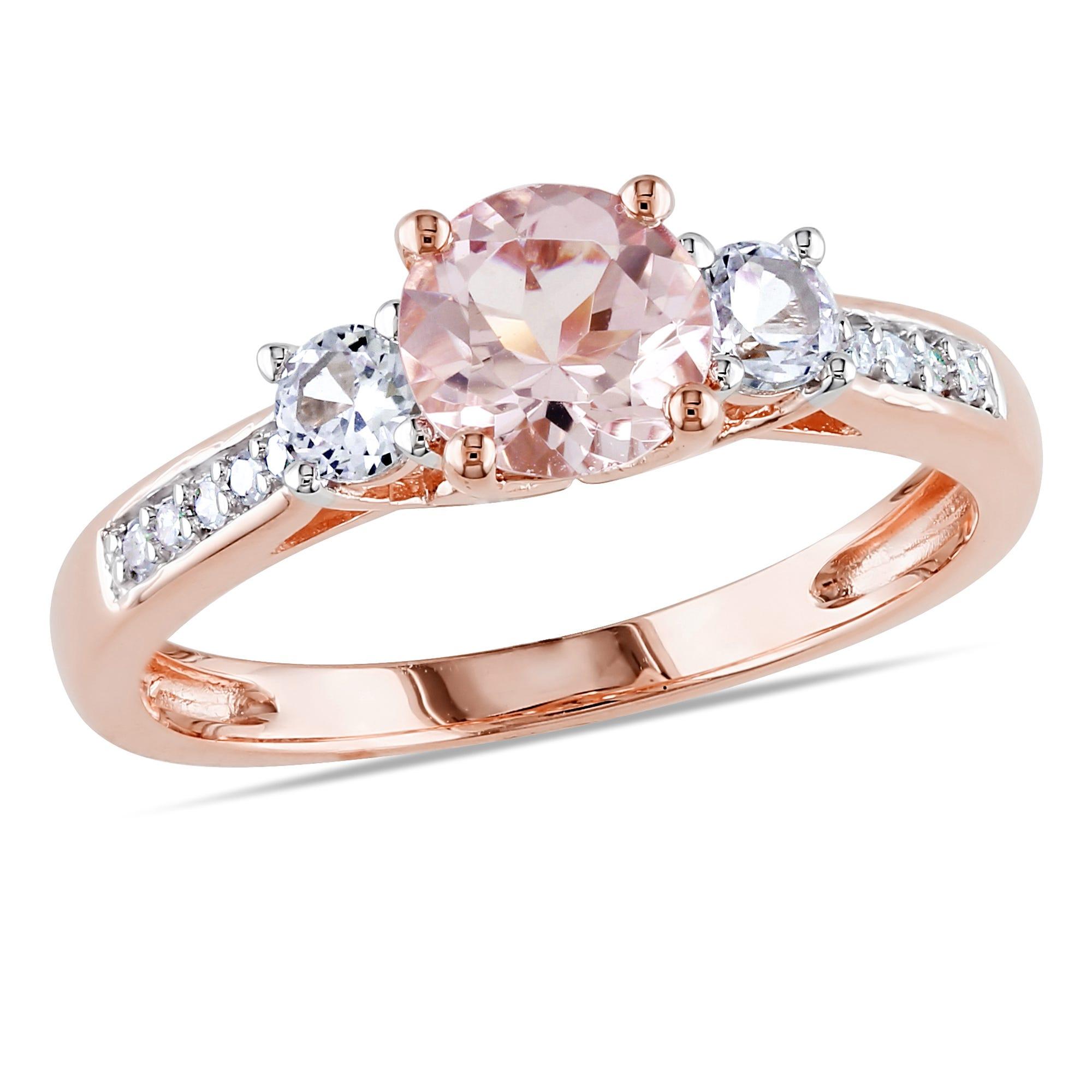 Three-Stone Morganite, White Sapphire & Diamond Engagement Ring in 10k Rose Gold