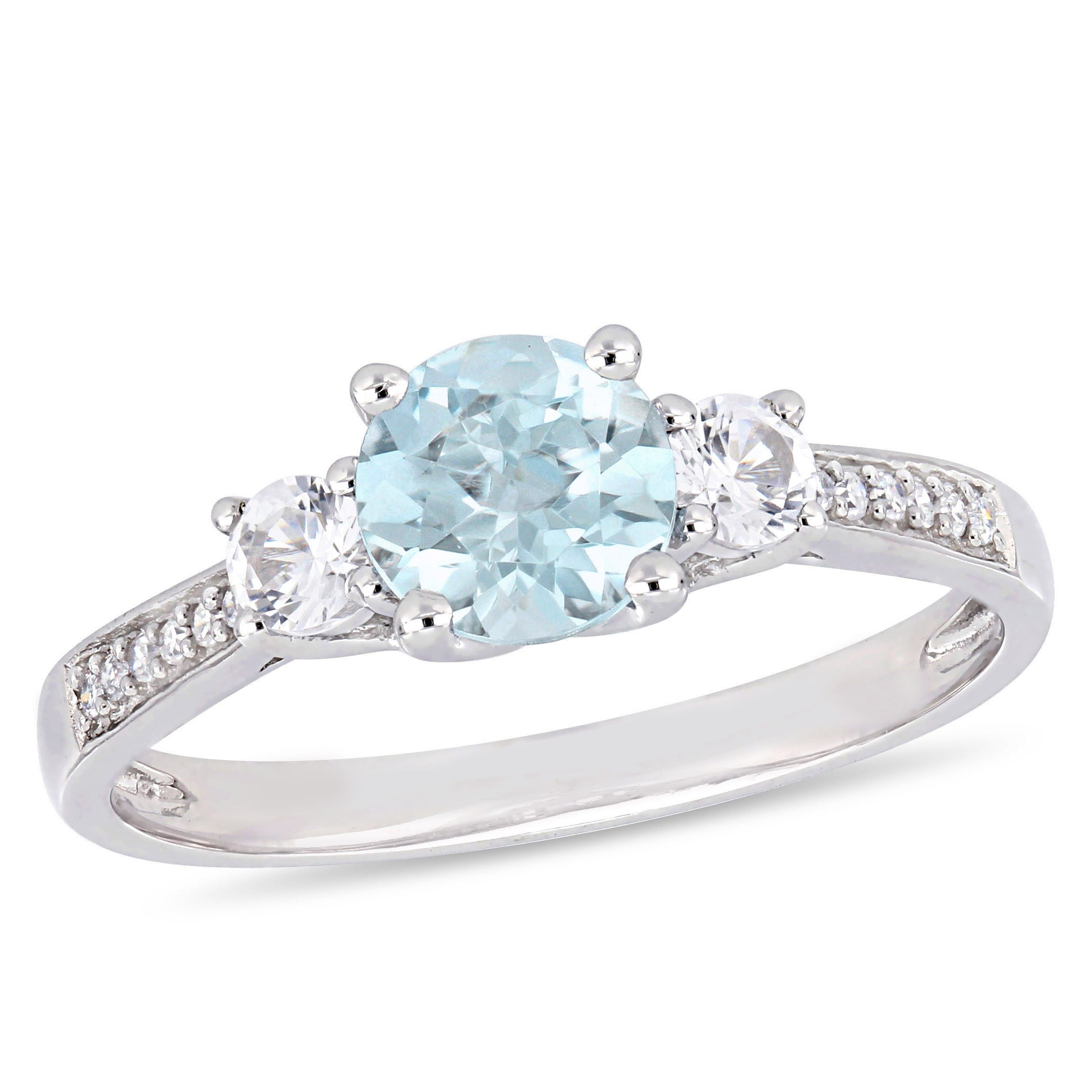 Three-Stone Aquamarine, White Sapphire & Diamond Engagement Ring in 10k White Gold