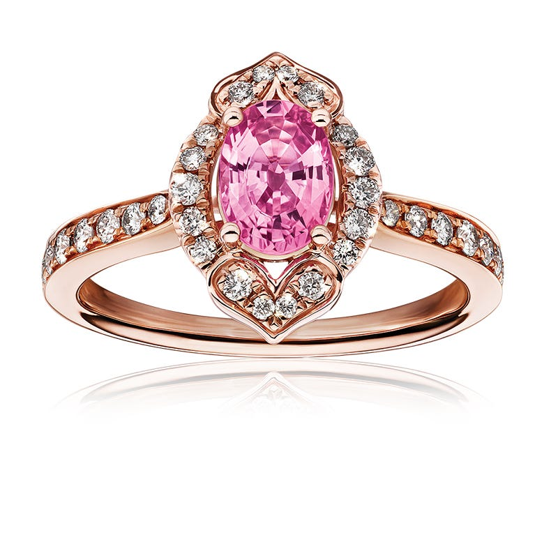 Fancy Oval Pink Sapphire & Diamond Ring in 14k Rose Gold