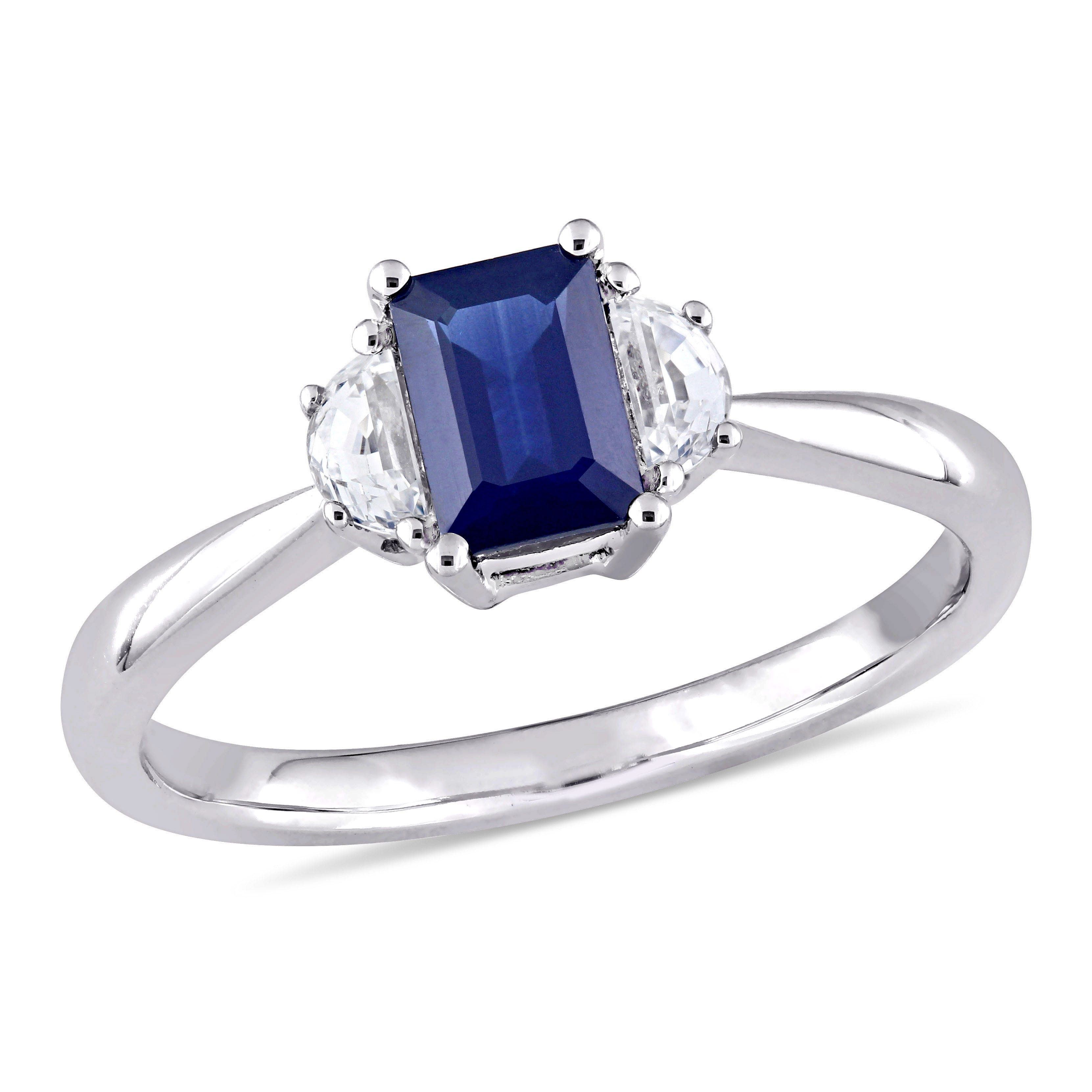 Three-Stone Emerald-Cut & Half Moon Sapphire Engagement Ring in 14k White Gold