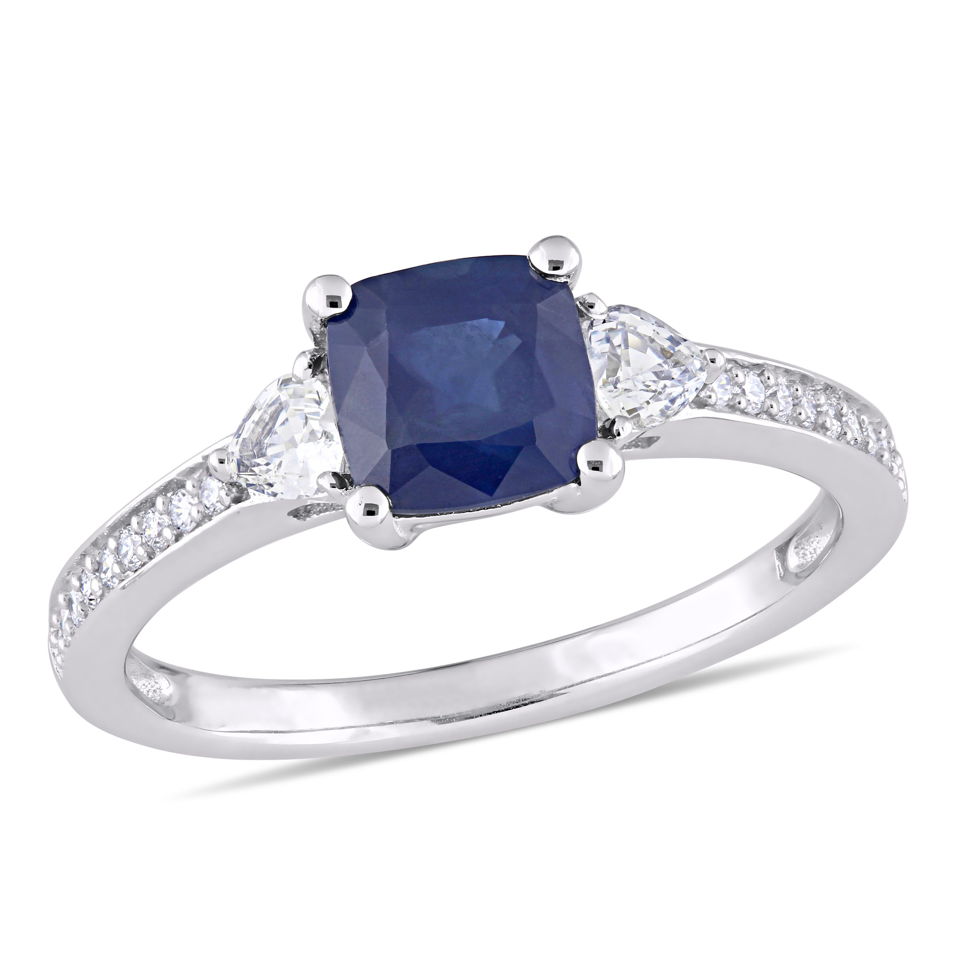 Three-Stone Cushion-Cut & Heart Sapphire Engagement Ring in 14k White Gold