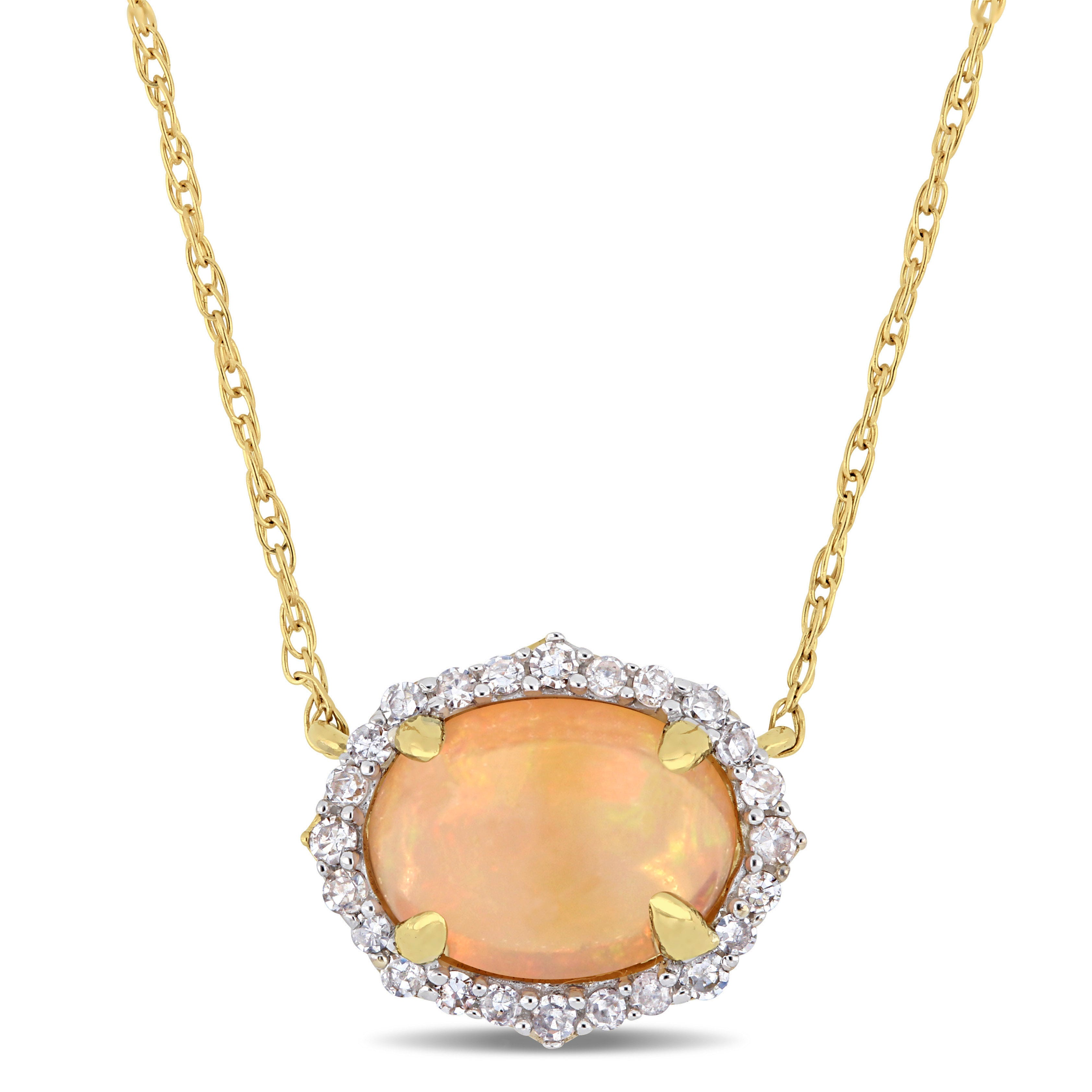 """10k Yellow Gold Oval Opal Pendant with 16/"""" Chain"""