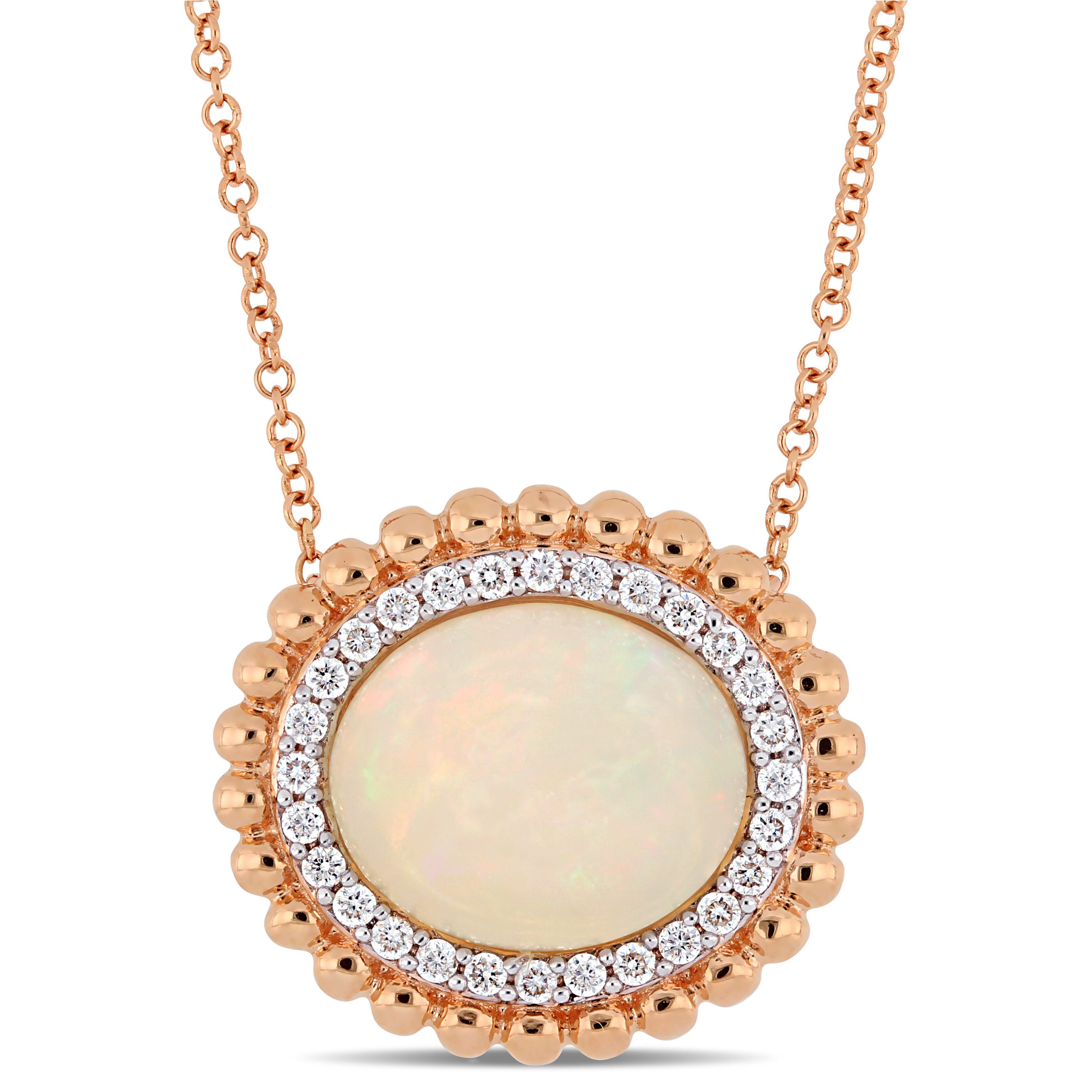 Ethiopian Blue-Hued Opal & Diamond and Rose Gold Bead Halo Necklace