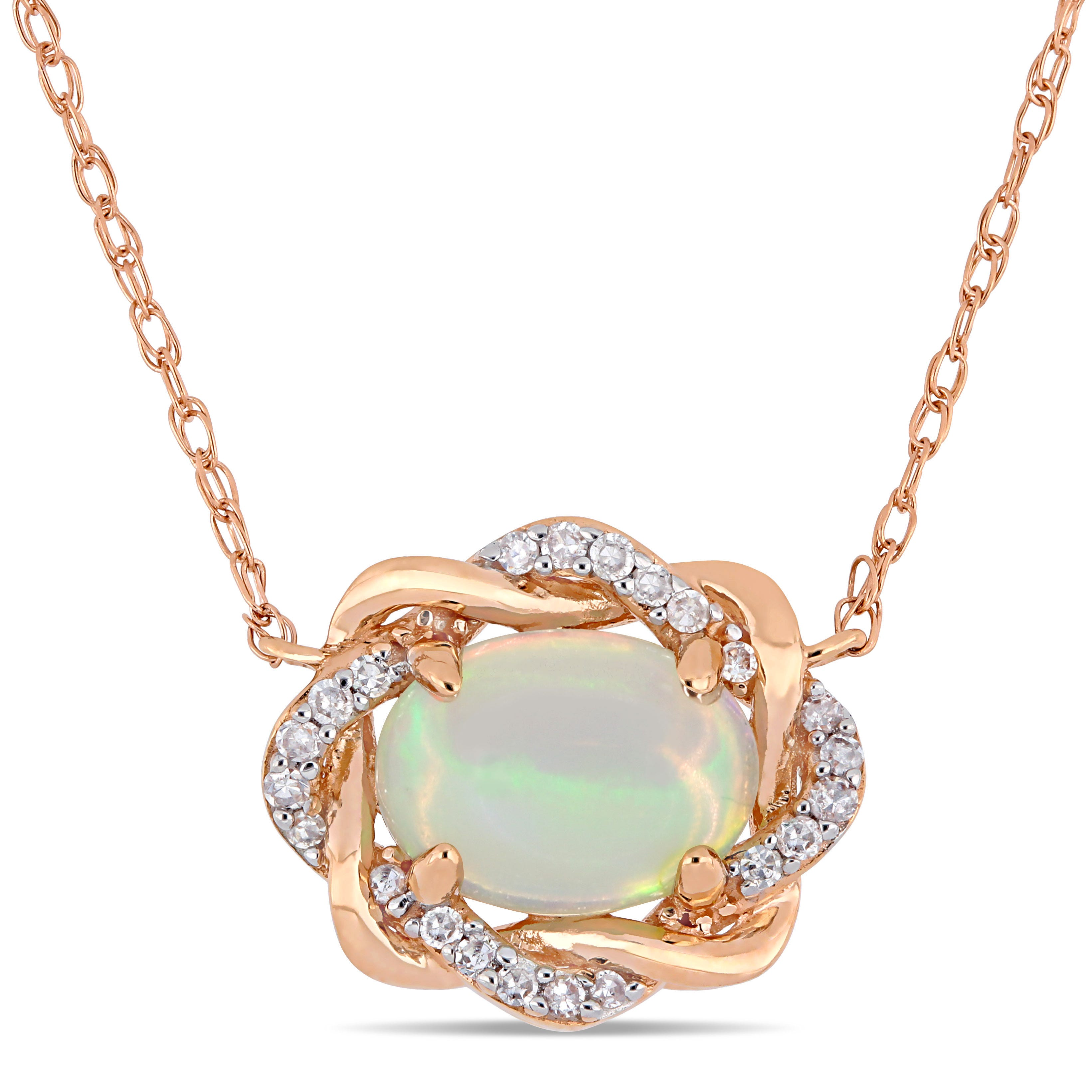Ethiopian Blue-Hued Opal & Diamond Woven Halo Necklace in Rose Gold
